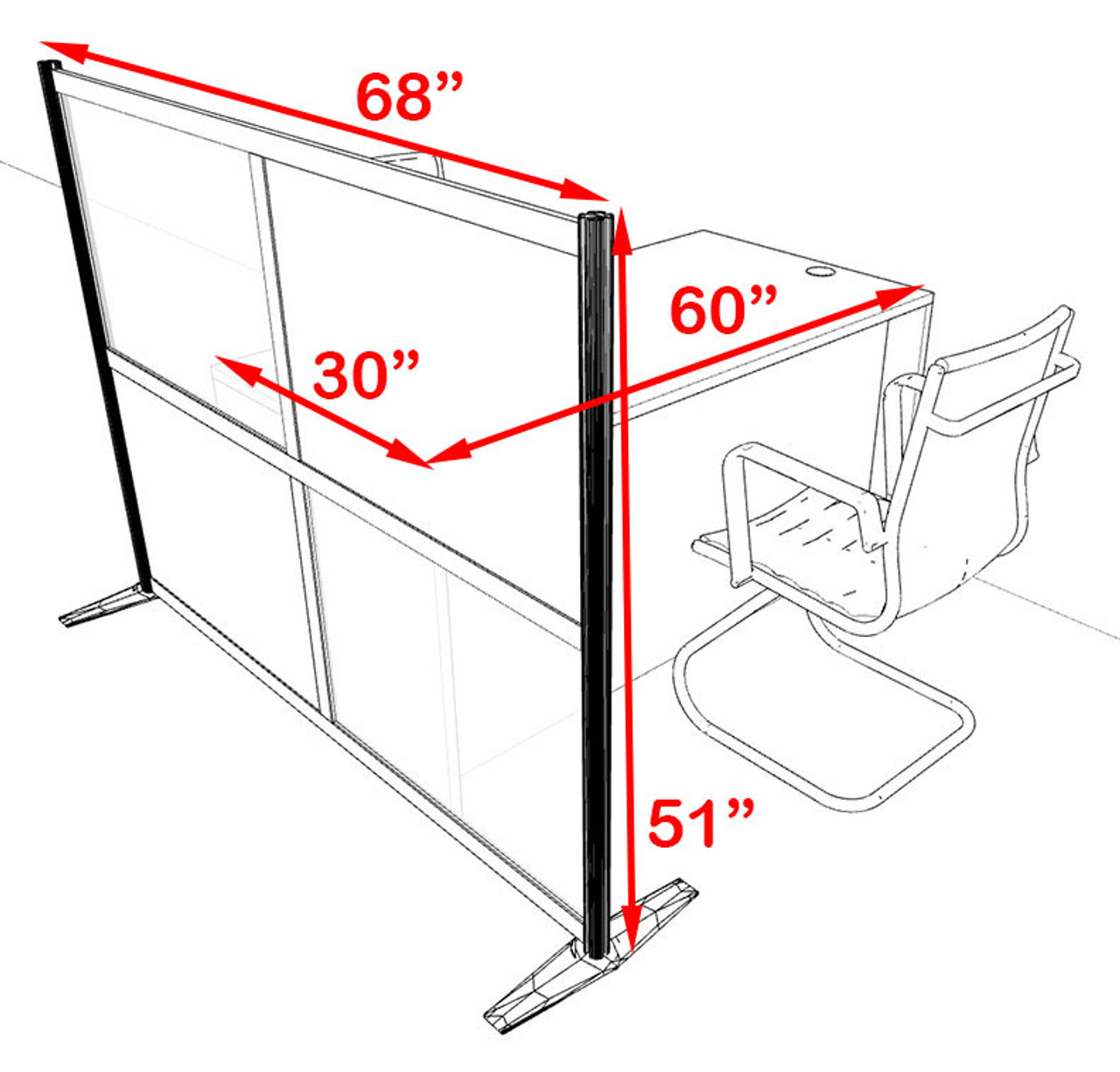 One Person Workstation w/Acrylic Aluminum Privacy Panel, #OT-SUL-HPB14