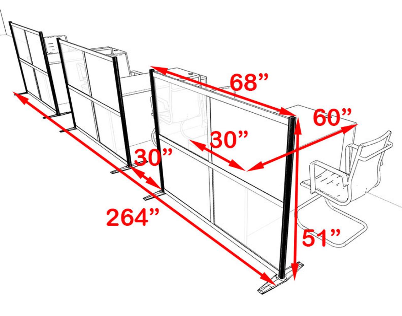 Three Person Workstation w/Acrylic Aluminum Privacy Panel, #OT-SUL-HPB24