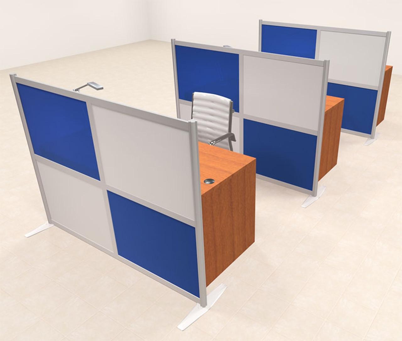 Three Person Workstation w/Acrylic Aluminum Privacy Panel, #OT-SUL-HPB33