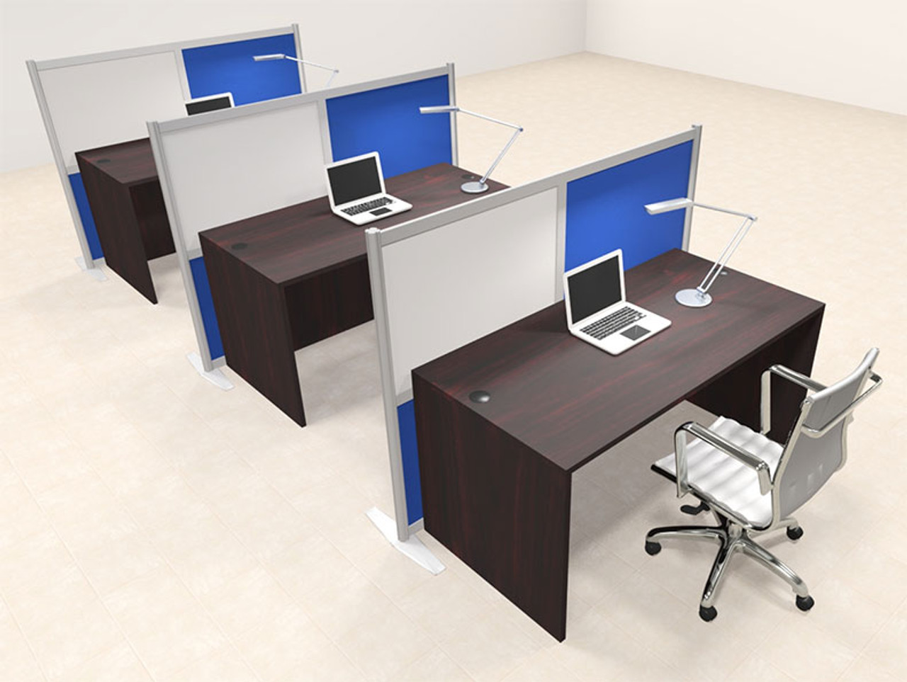 Three Person Workstation w/Acrylic Aluminum Privacy Panel, #OT-SUL-HPB35