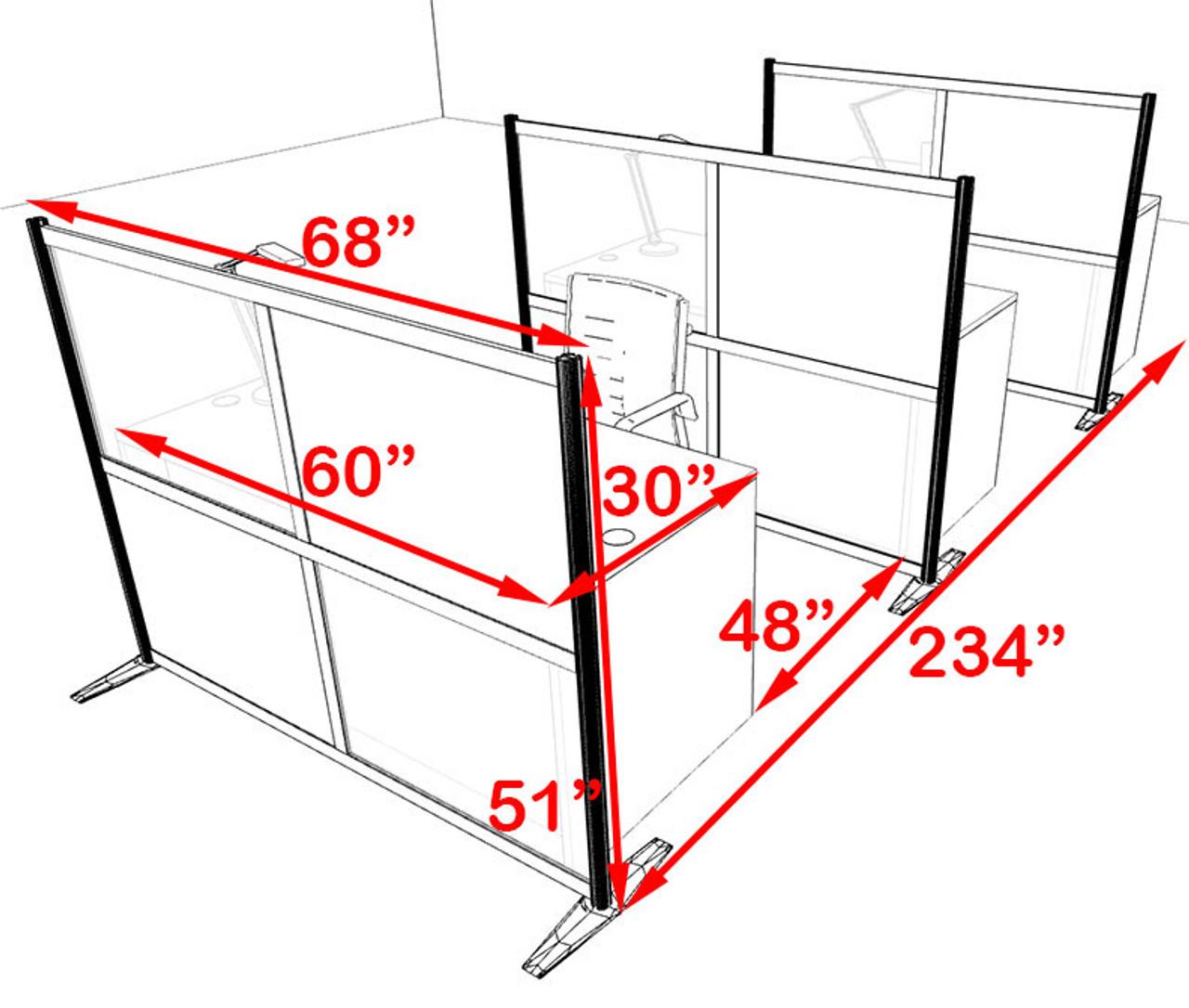 Three Person Workstation w/Acrylic Aluminum Privacy Panel, #OT-SUL-HPB36