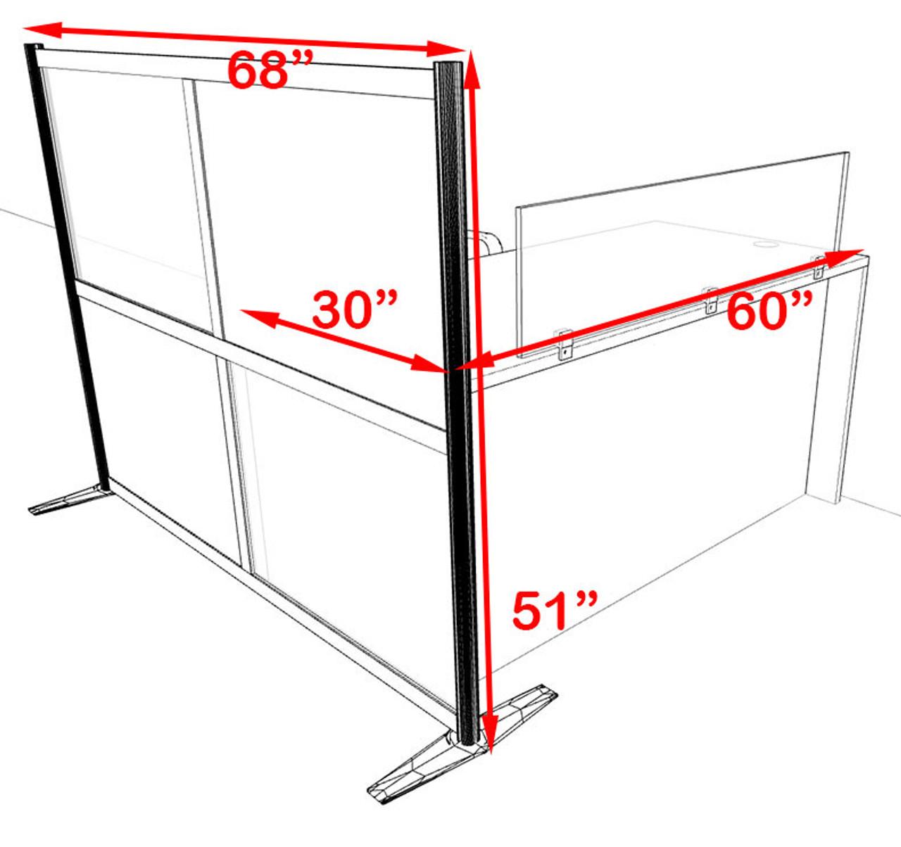 One Person Workstation w/Acrylic Aluminum Privacy Panel, #OT-SUL-HPB38