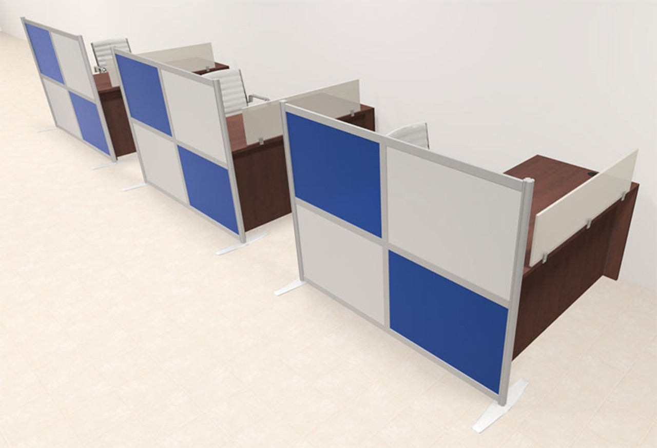 Three Person Workstation w/Acrylic Aluminum Privacy Panel, #OT-SUL-HPB46