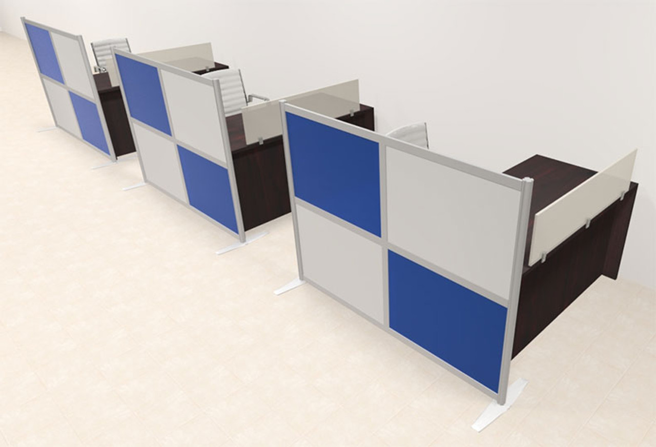 Three Person Workstation w/Acrylic Aluminum Privacy Panel, #OT-SUL-HPB47
