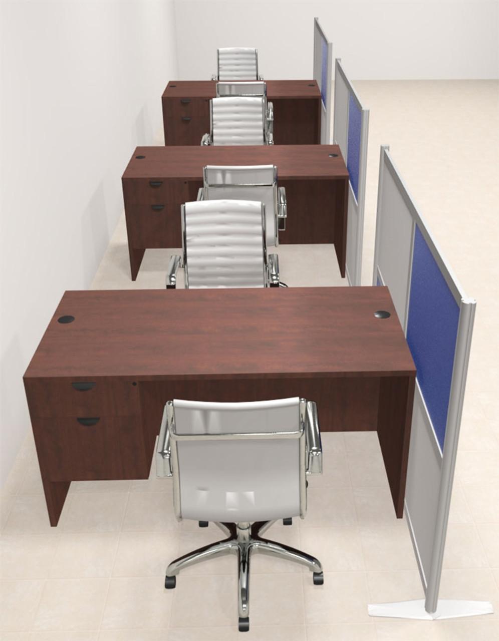 Three Person Workstation w/Acrylic Aluminum Privacy Panel, #OT-SUL-HPB58
