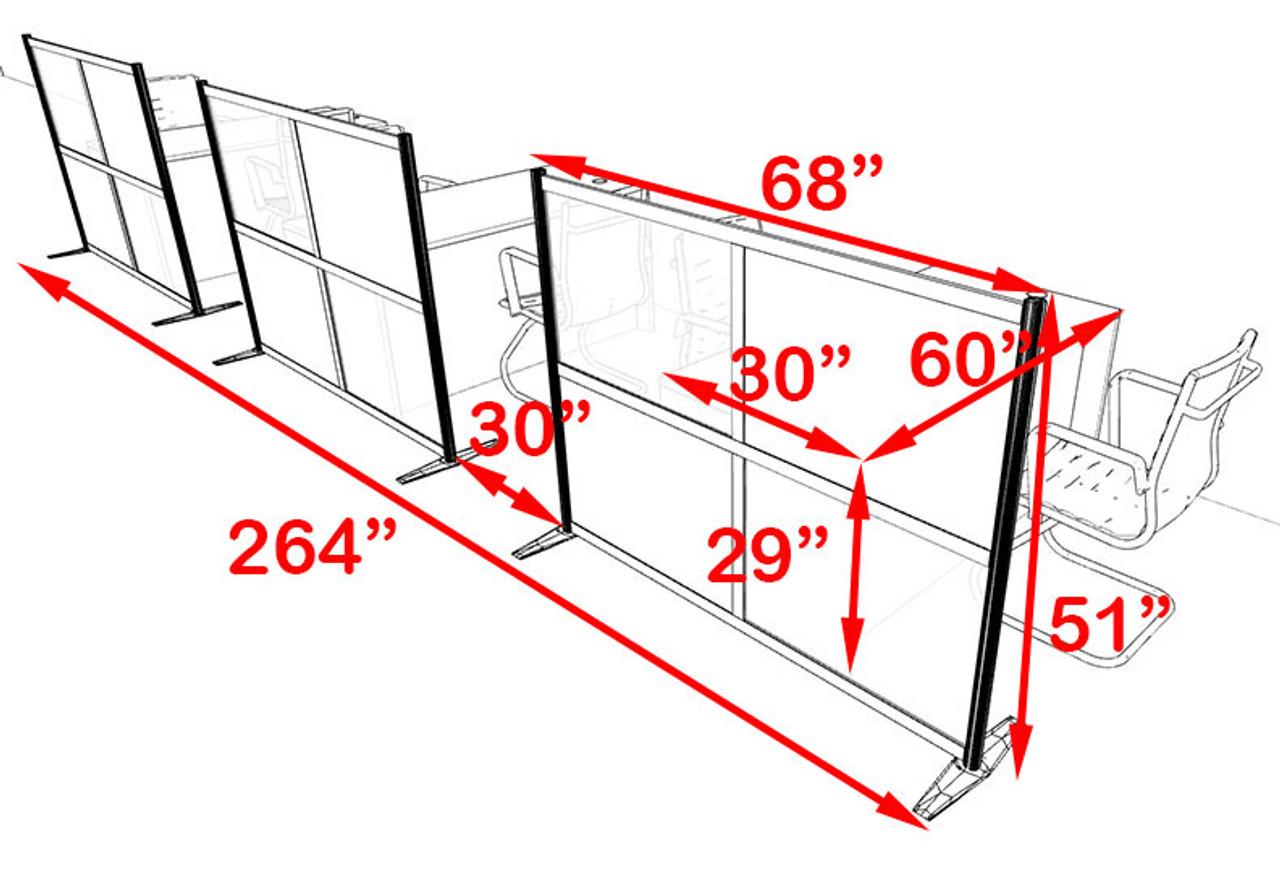 Three Person Workstation w/Acrylic Aluminum Privacy Panel, #OT-SUL-HPB60