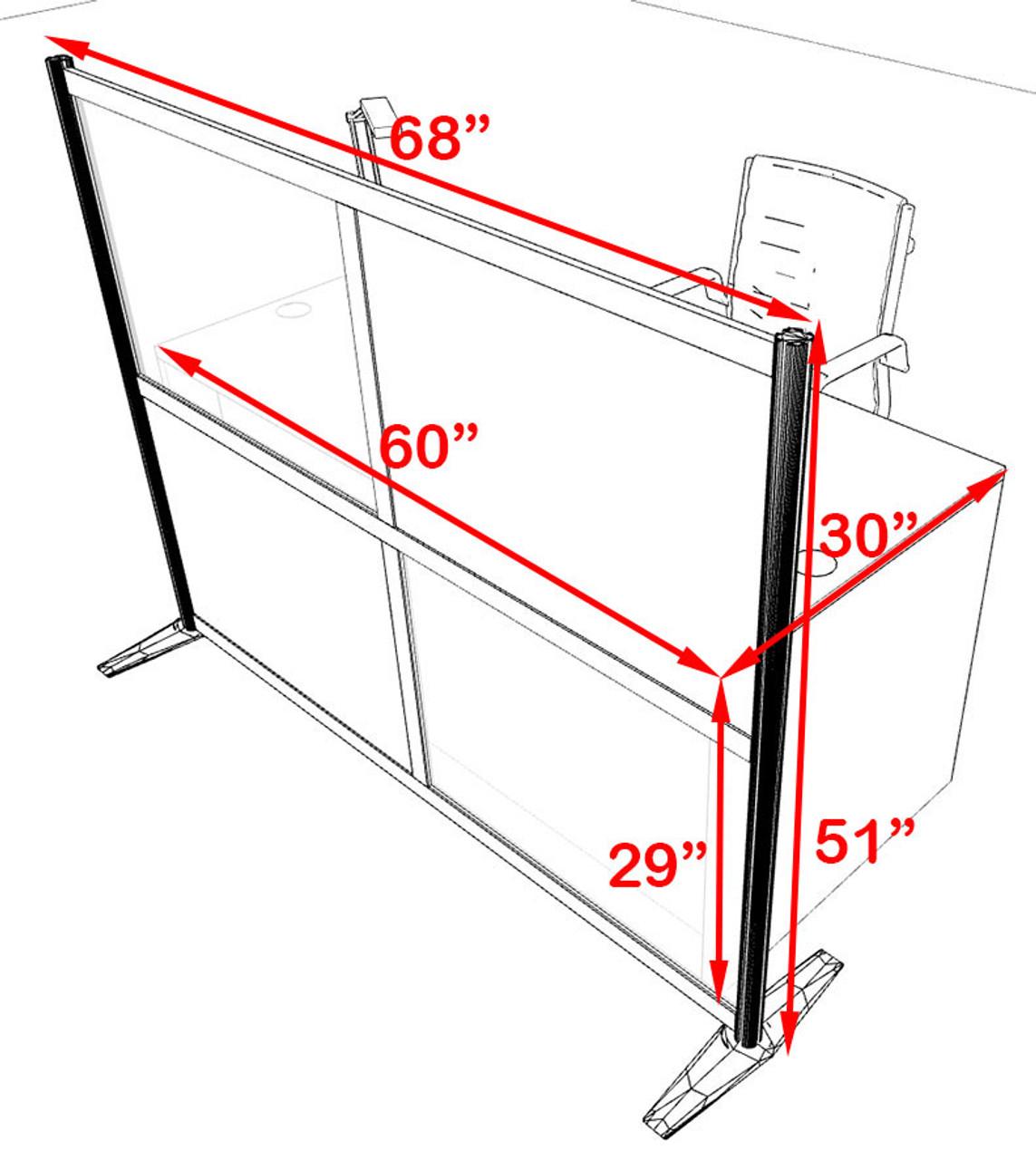 One Person Workstation w/Acrylic Aluminum Privacy Panel, #OT-SUL-HPB62