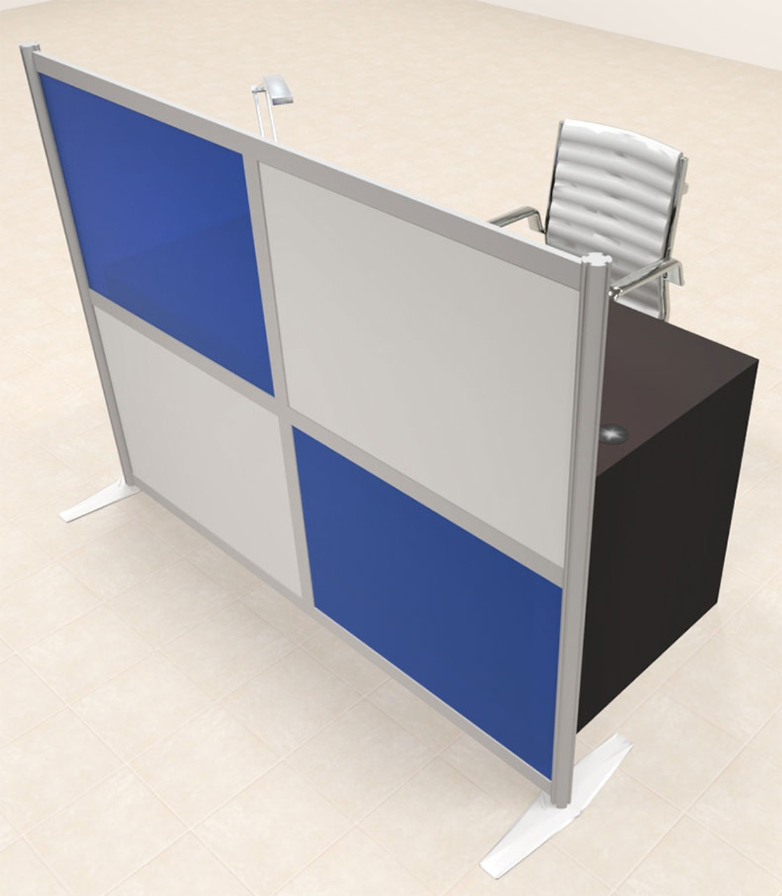 One Person Workstation w/Acrylic Aluminum Privacy Panel, #OT-SUL-HPB64