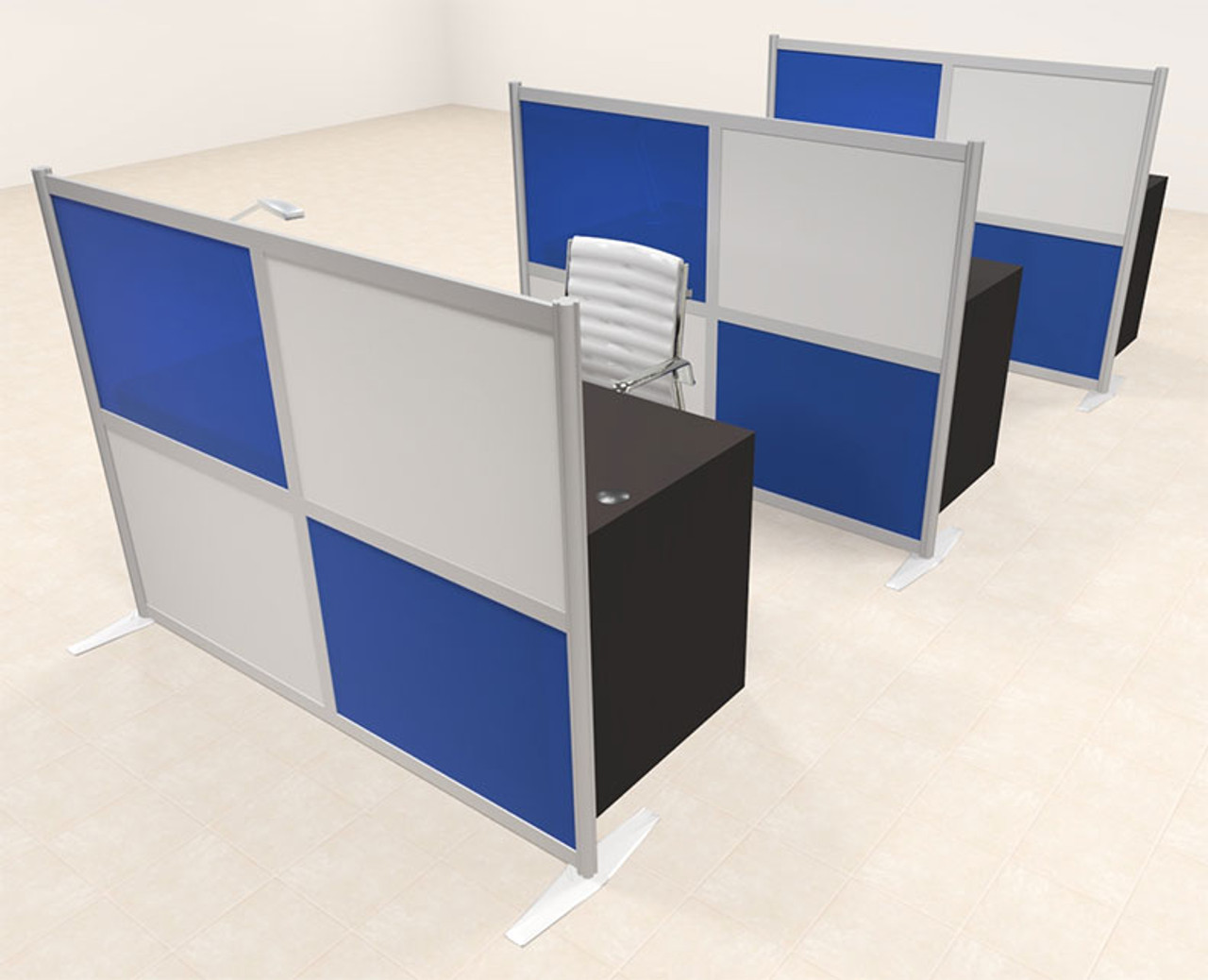Three Person Workstation w/Acrylic Aluminum Privacy Panel, #OT-SUL-HPB72