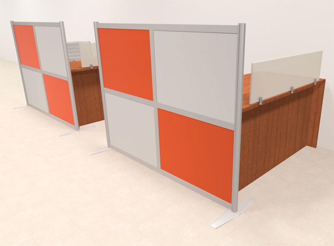 Two Person Workstation w/Acrylic Aluminum Privacy Panel, #OT-SUL-HPO113