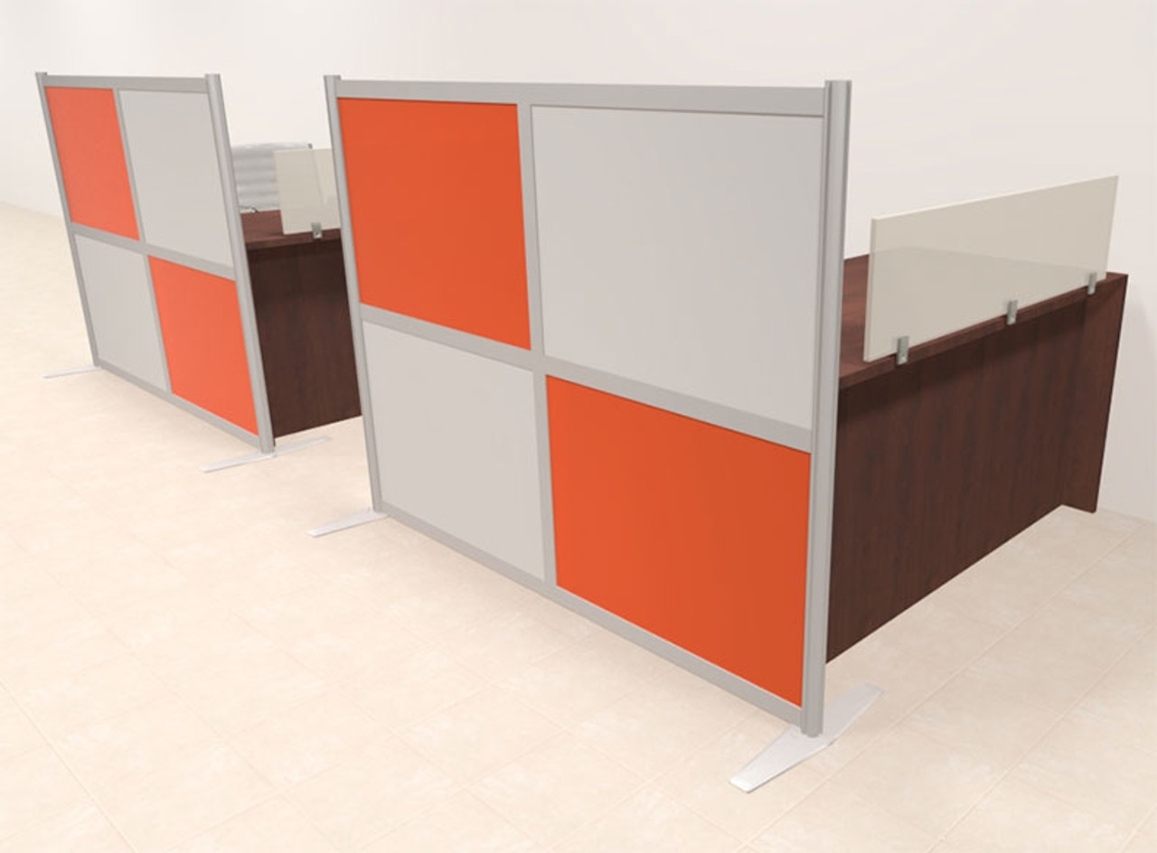 Two Person Workstation w/Acrylic Aluminum Privacy Panel, #OT-SUL-HPO114