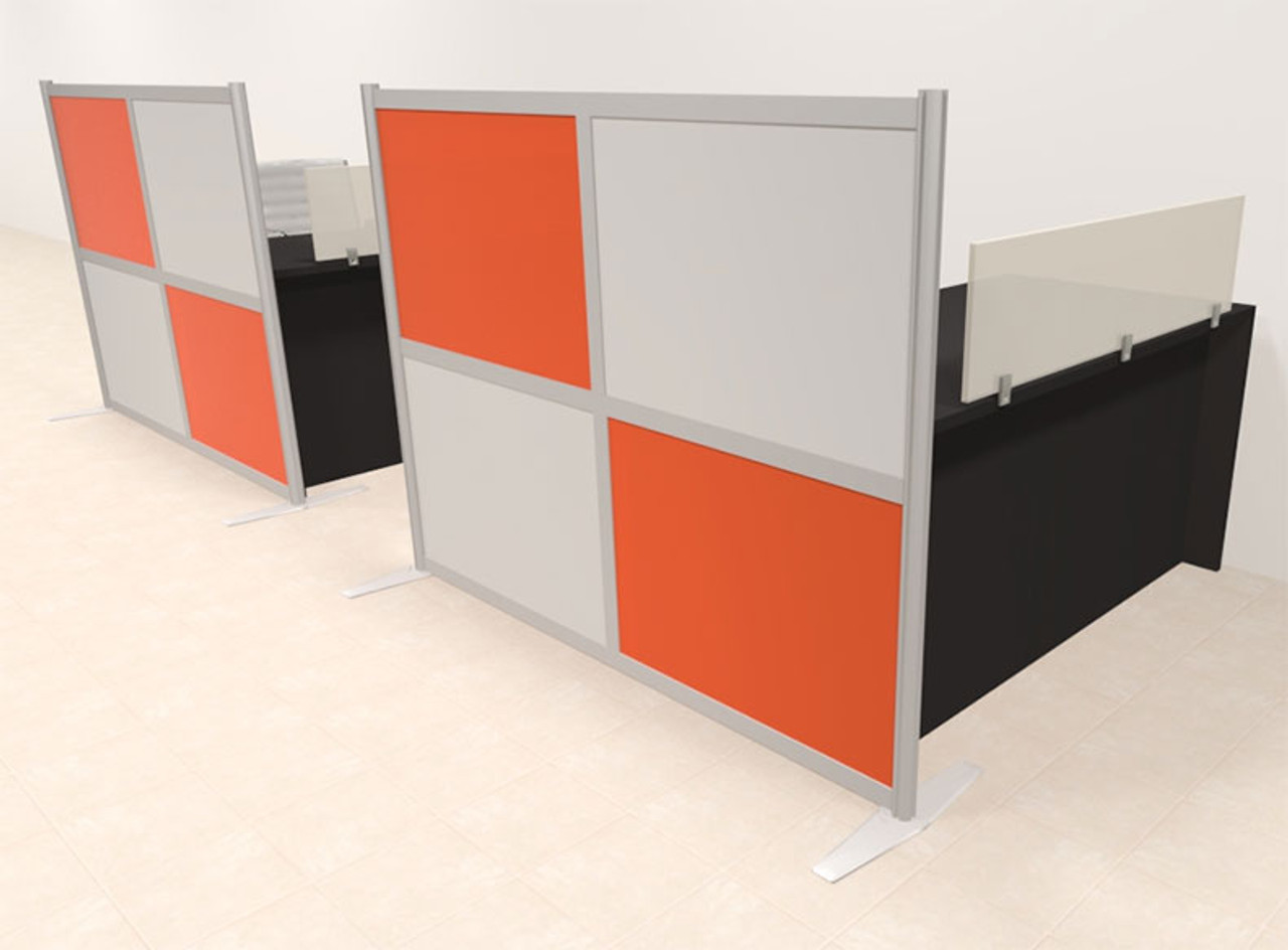 Two Person Workstation w/Acrylic Aluminum Privacy Panel, #OT-SUL-HPO116