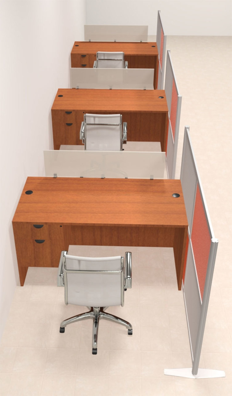 Three Person Workstation w/Acrylic Aluminum Privacy Panel, #OT-SUL-HPO117