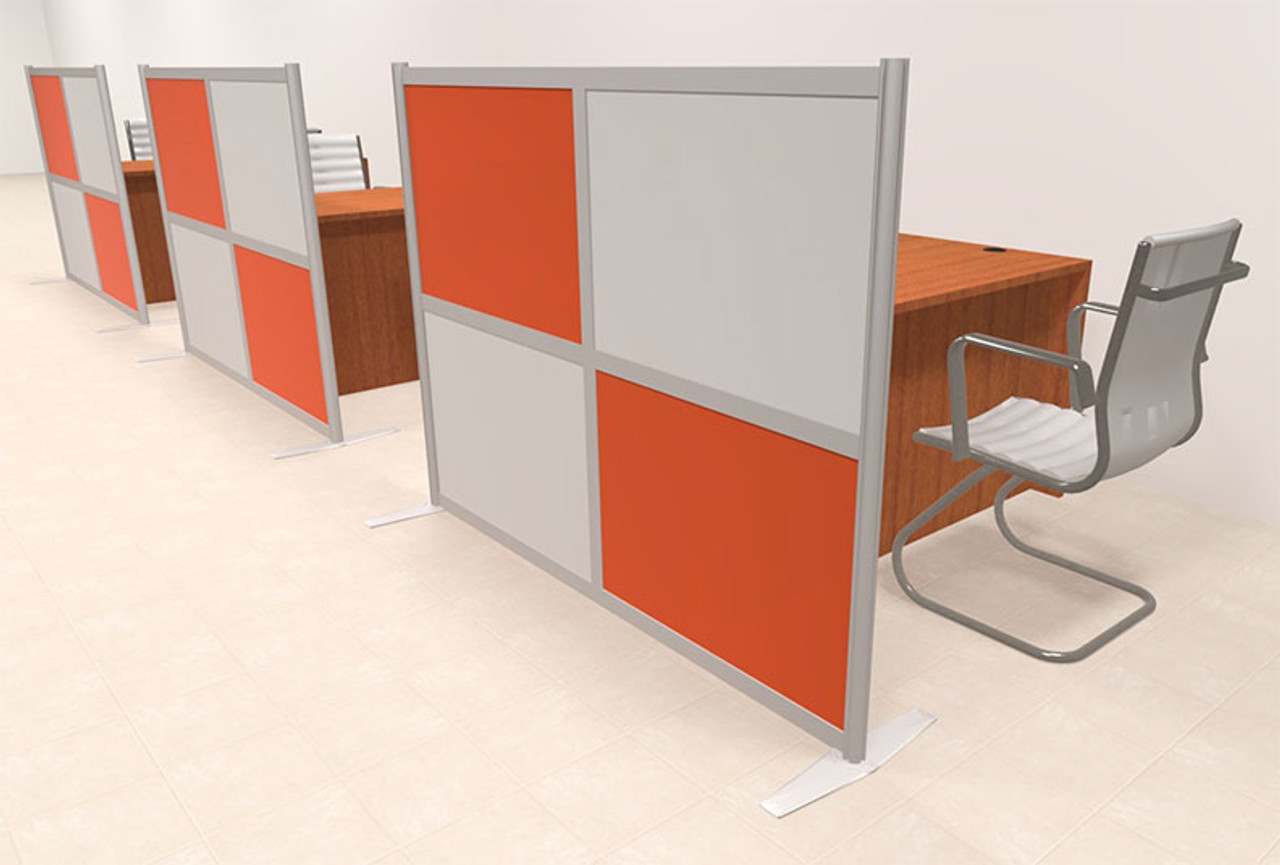 Three Person Workstation w/Acrylic Aluminum Privacy Panel, #OT-SUL-HPO129