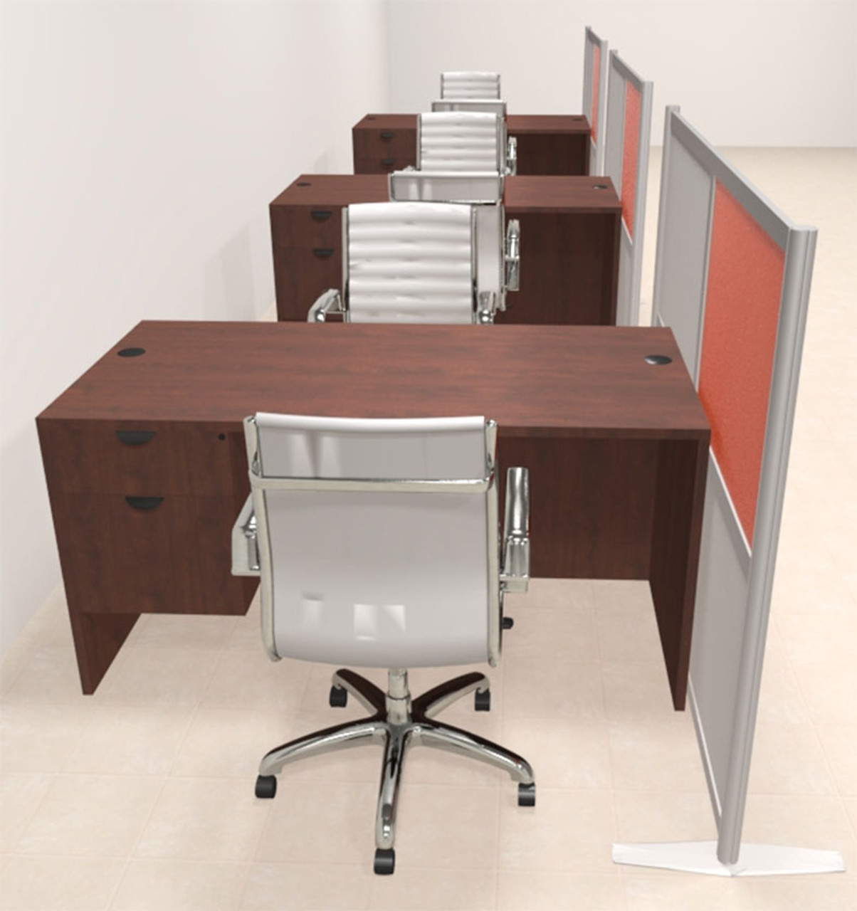 Three Person Workstation w/Acrylic Aluminum Privacy Panel, #OT-SUL-HPO130