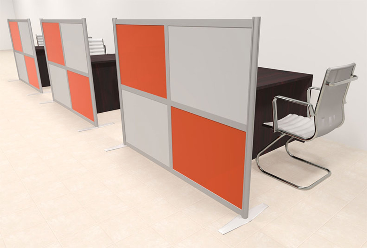 Three Person Workstation w/Acrylic Aluminum Privacy Panel, #OT-SUL-HPO131