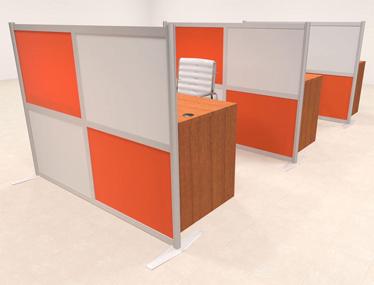 Three Person Workstation w/Acrylic Aluminum Privacy Panel, #OT-SUL-HPO141