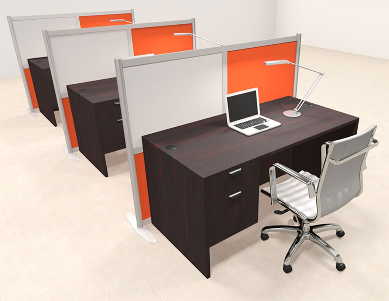 Three Person Workstation w/Acrylic Aluminum Privacy Panel, #OT-SUL-HPO143