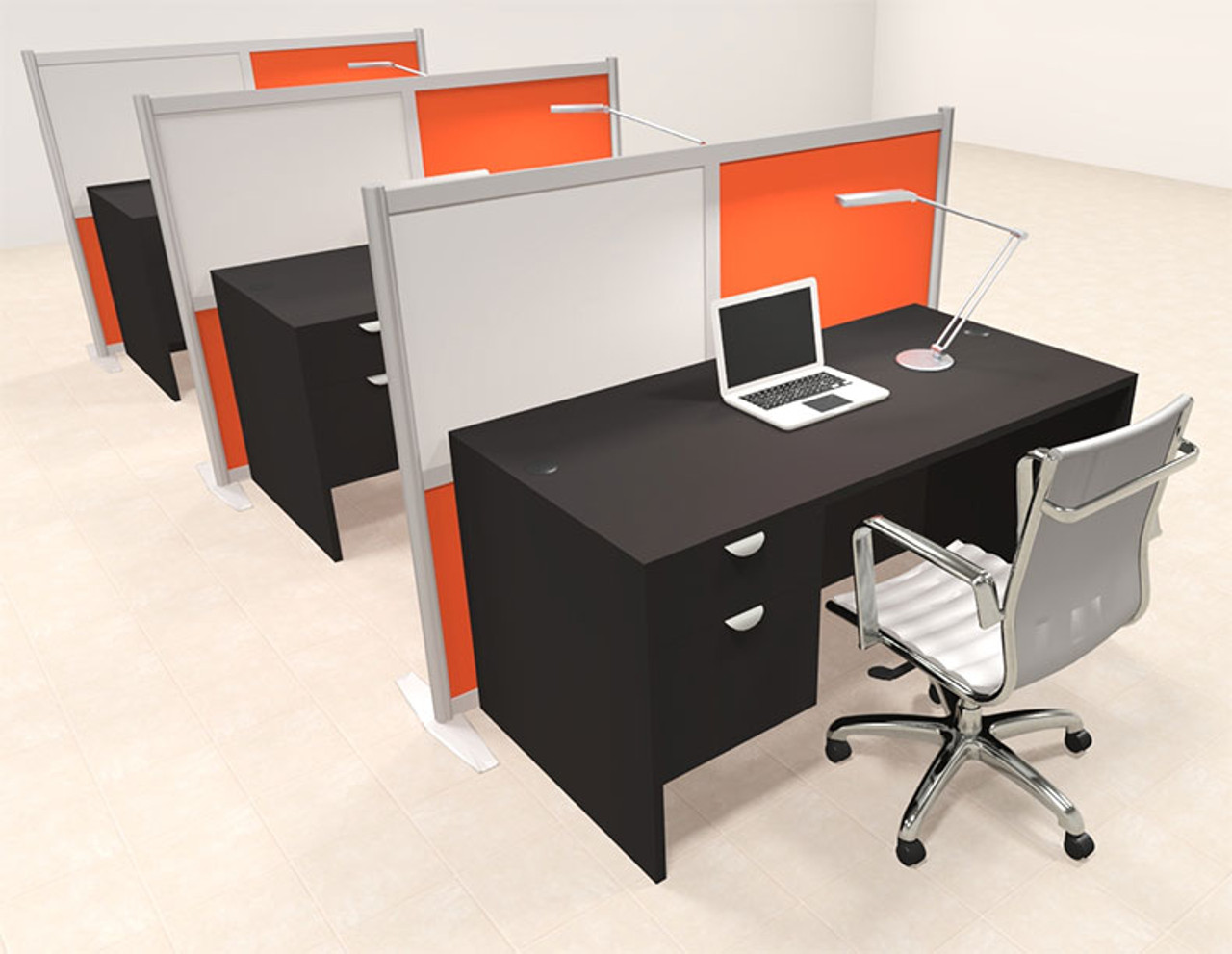 Three Person Workstation w/Acrylic Aluminum Privacy Panel, #OT-SUL-HPO144