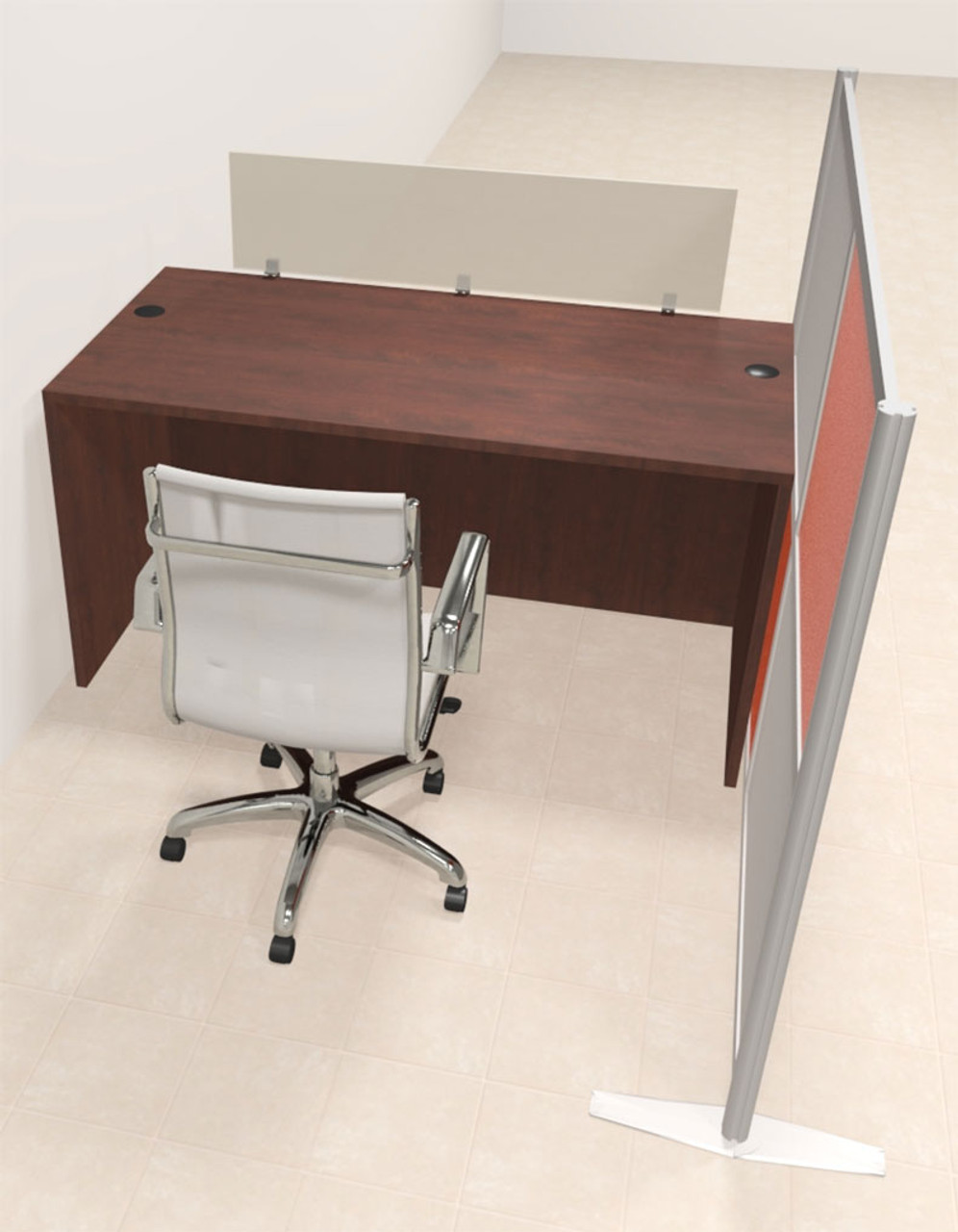 One Person Workstation w/Acrylic Aluminum Privacy Panel, #OT-SUL-HPO74