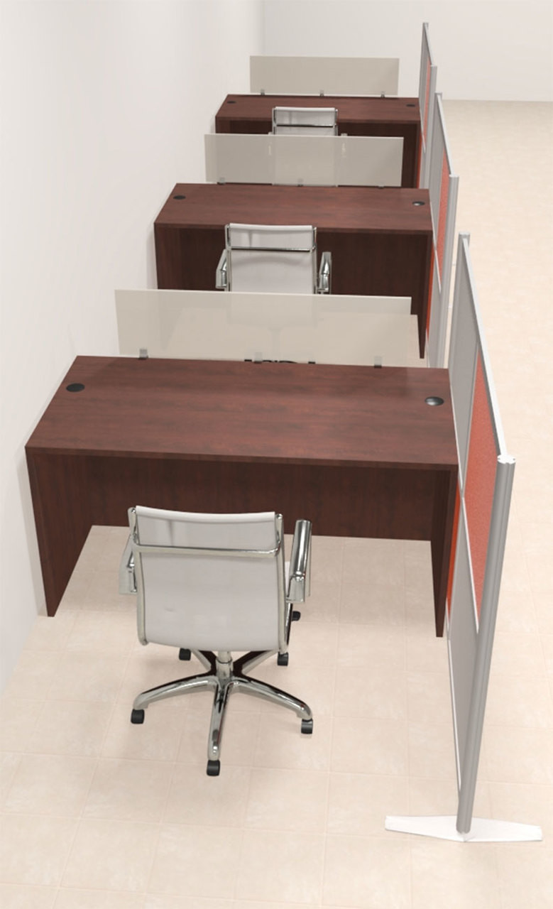 Three Person Workstation w/Acrylic Aluminum Privacy Panel, #OT-SUL-HPO82