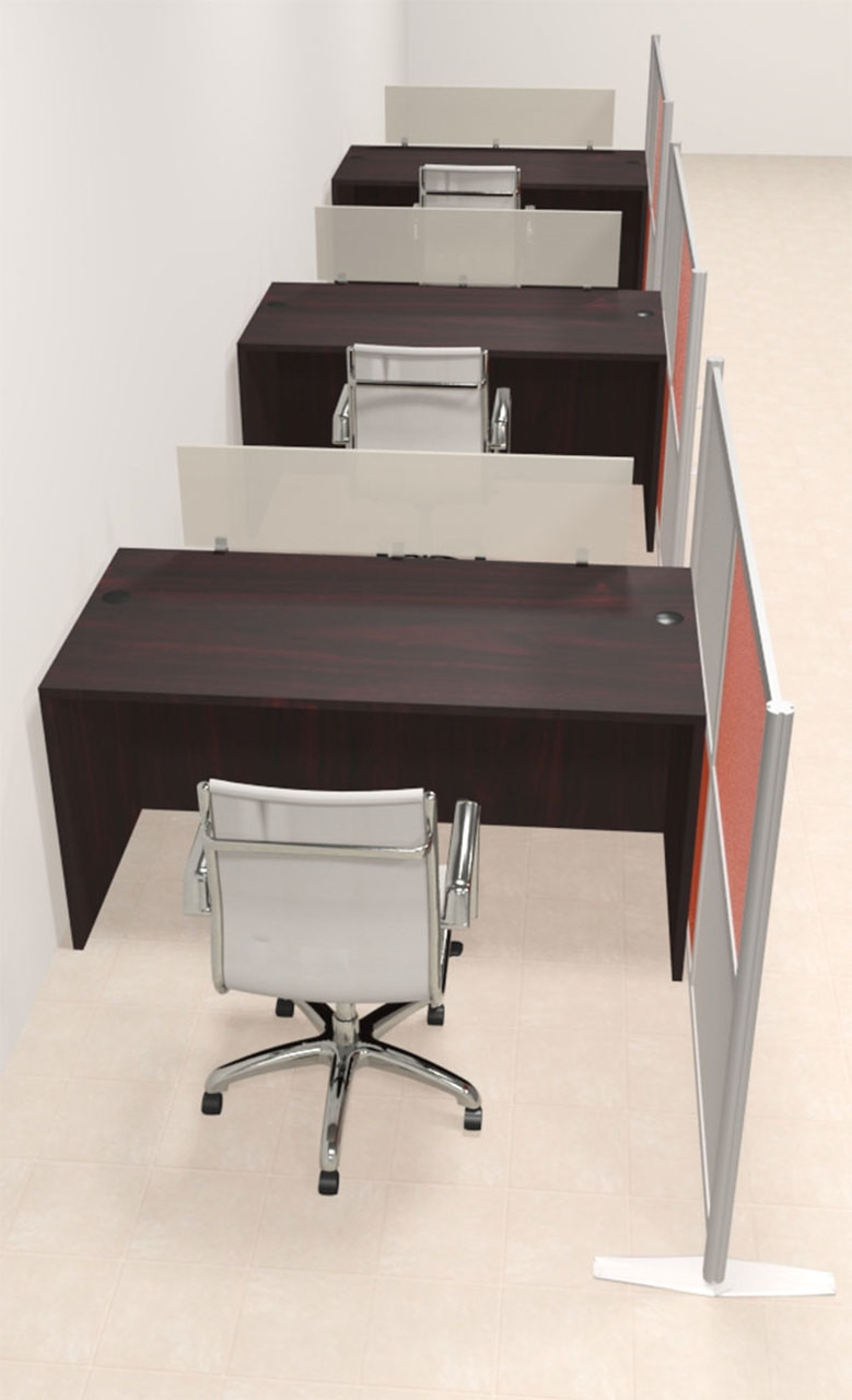 Three Person Workstation w/Acrylic Aluminum Privacy Panel, #OT-SUL-HPO83