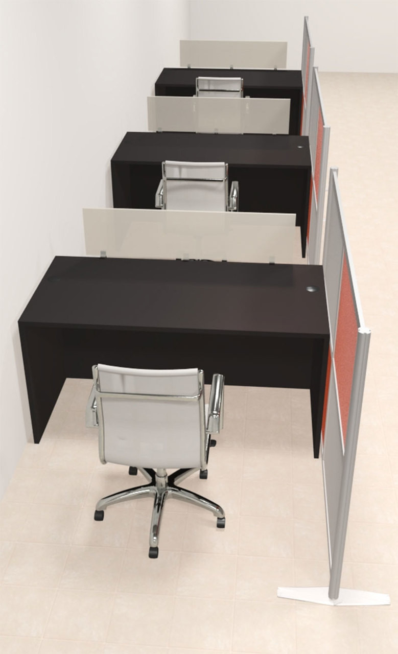 Three Person Workstation w/Acrylic Aluminum Privacy Panel, #OT-SUL-HPO84