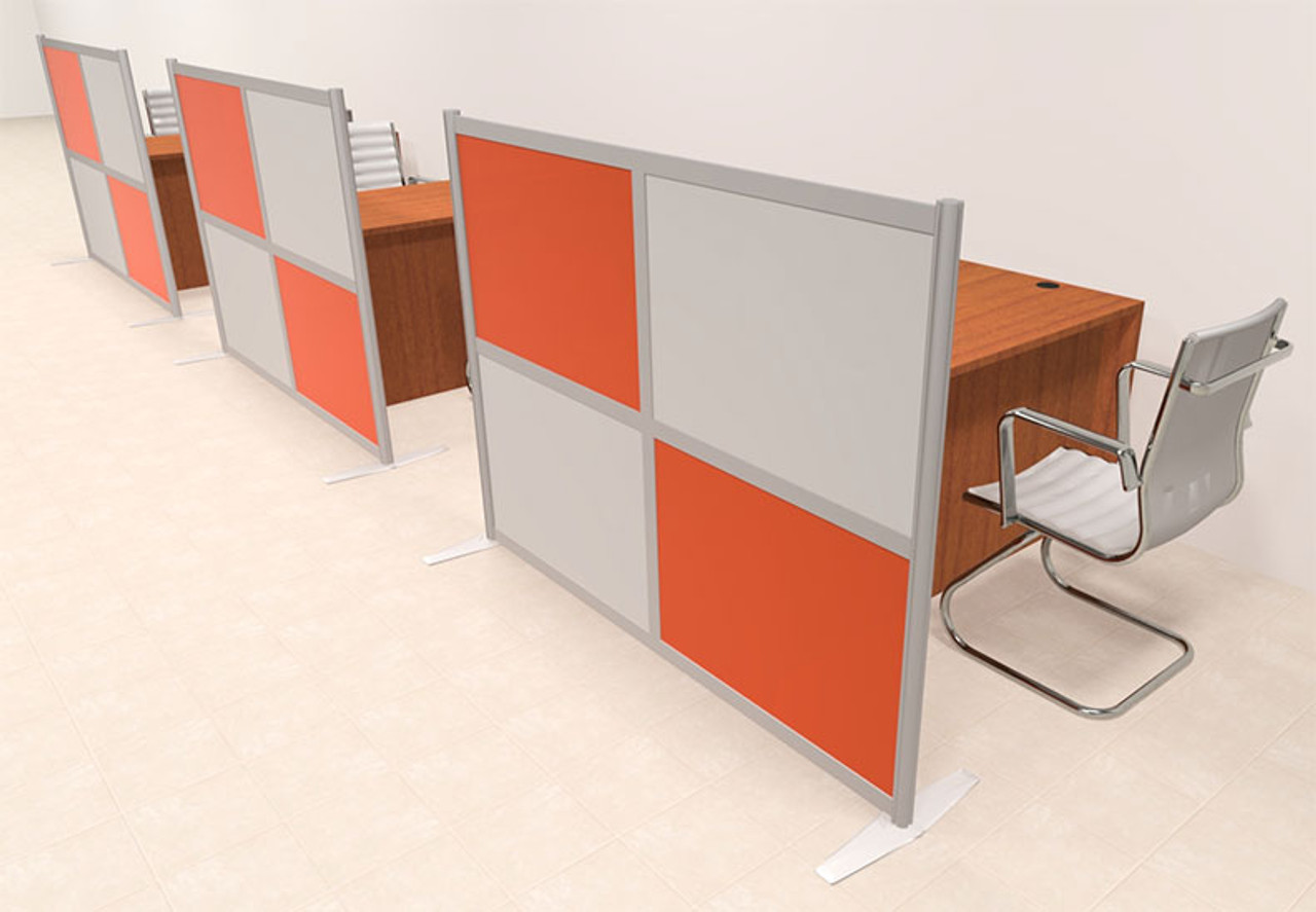 Three Person Workstation w/Acrylic Aluminum Privacy Panel, #OT-SUL-HPO93