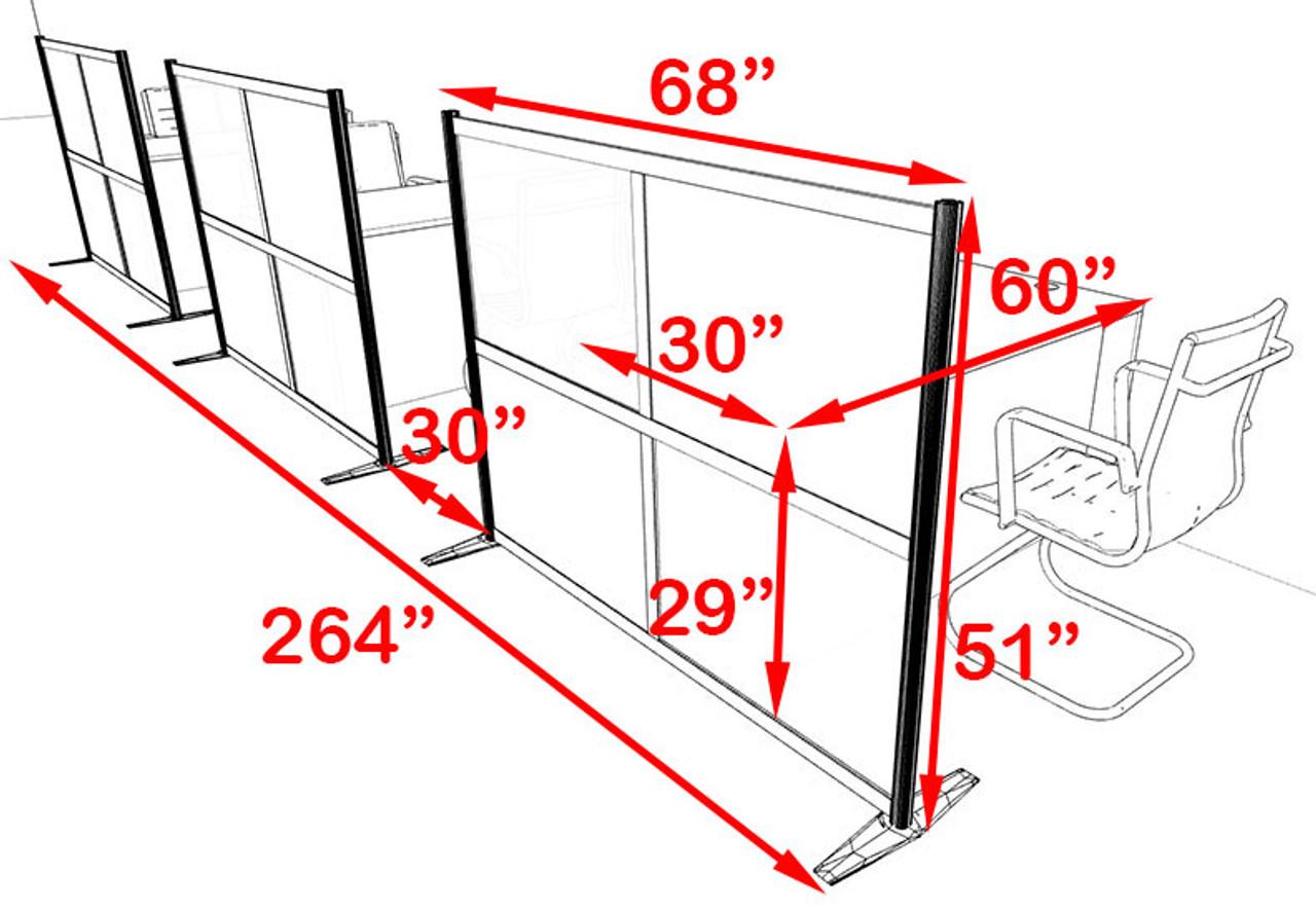 Three Person Workstation w/Acrylic Aluminum Privacy Panel, #OT-SUL-HPO96