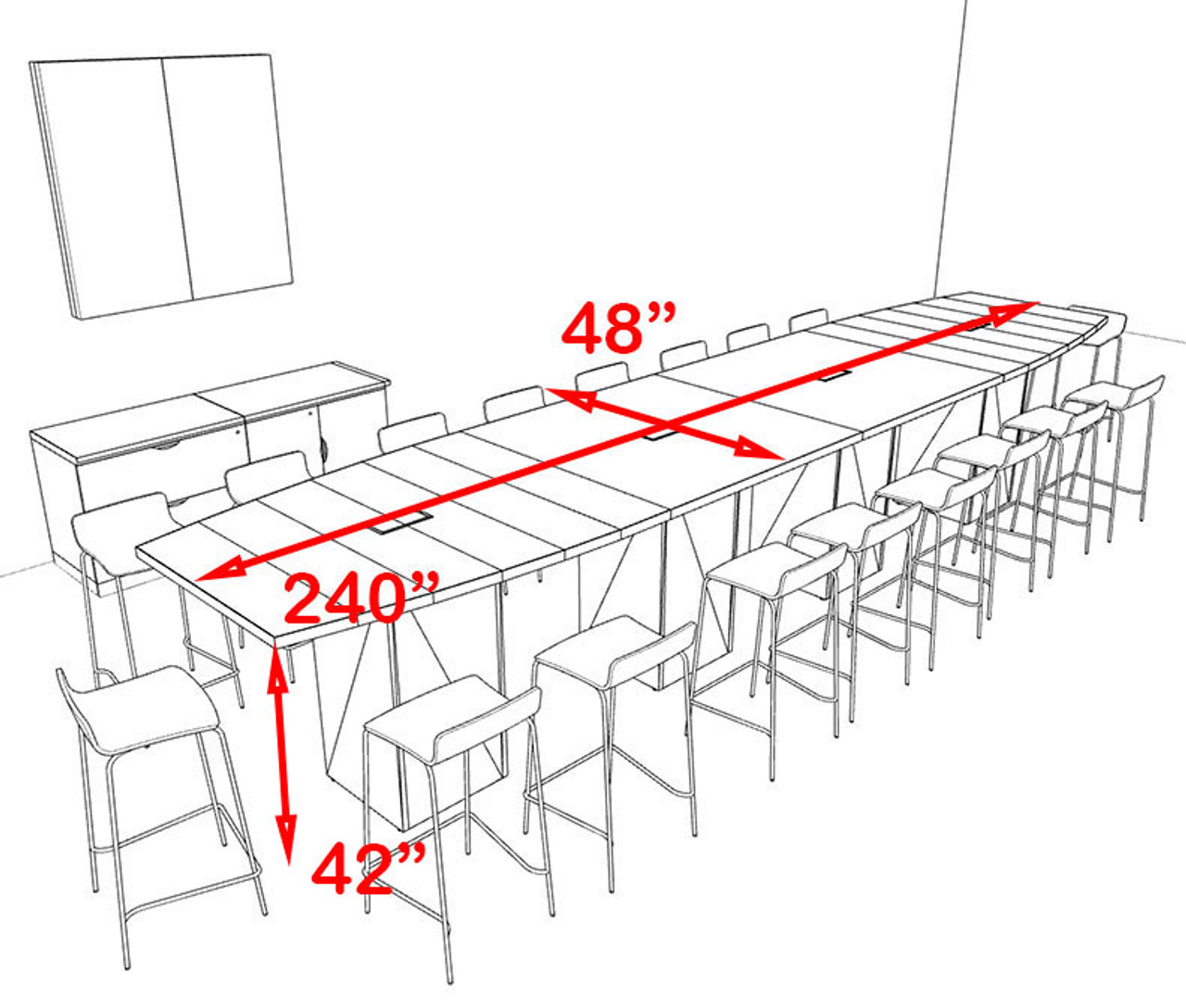 Boat Shape Counter Height 18' Feet Conference Table, #OF-CON-CT28
