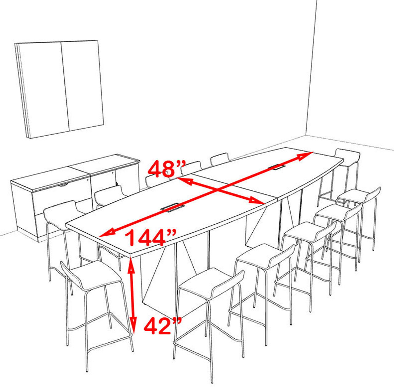 Boat Shape Counter Height 12' Feet Conference Table, #OF-CON-CT7
