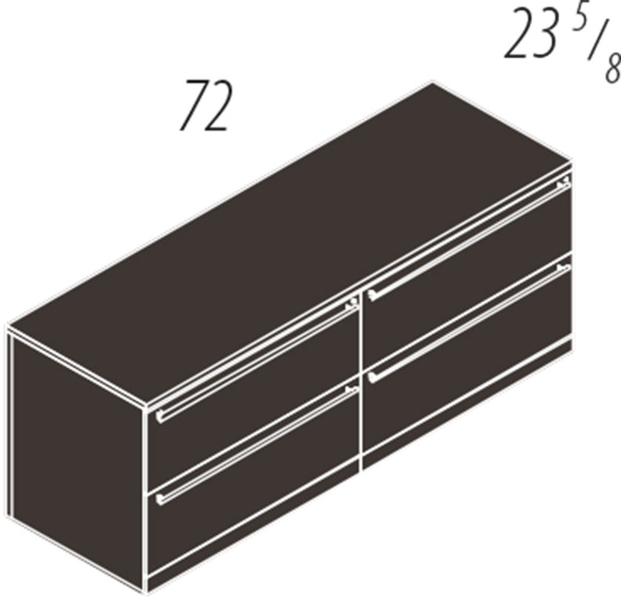 4 Drawers Lateral Low Wall Cabinet, #CH-VER-CAB14