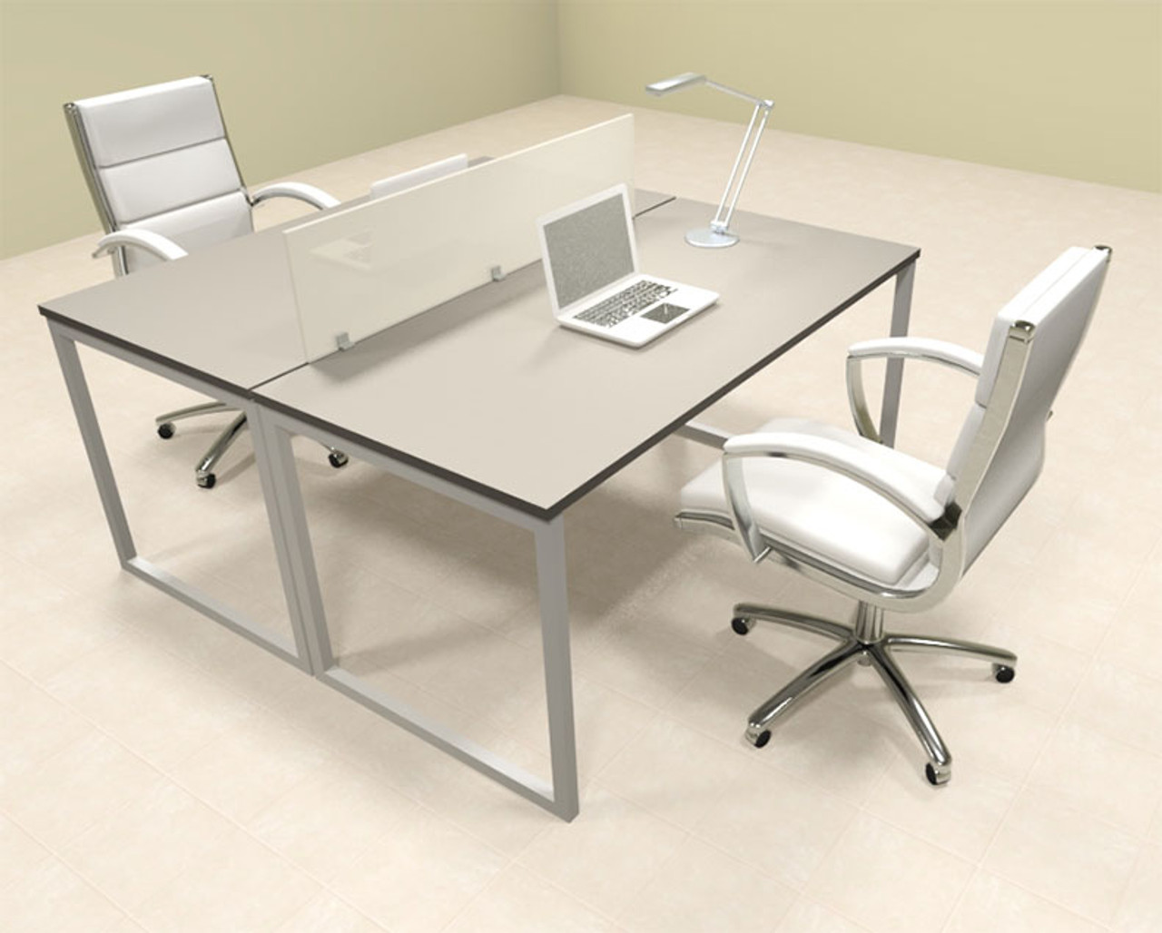 Two Person Modern Acrylic Divider Office Workstation, #AL-OPN-FP2