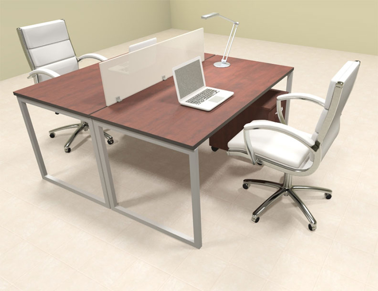 Two Person Modern Acrylic Divider Office Workstation, #AL-OPN-FP22