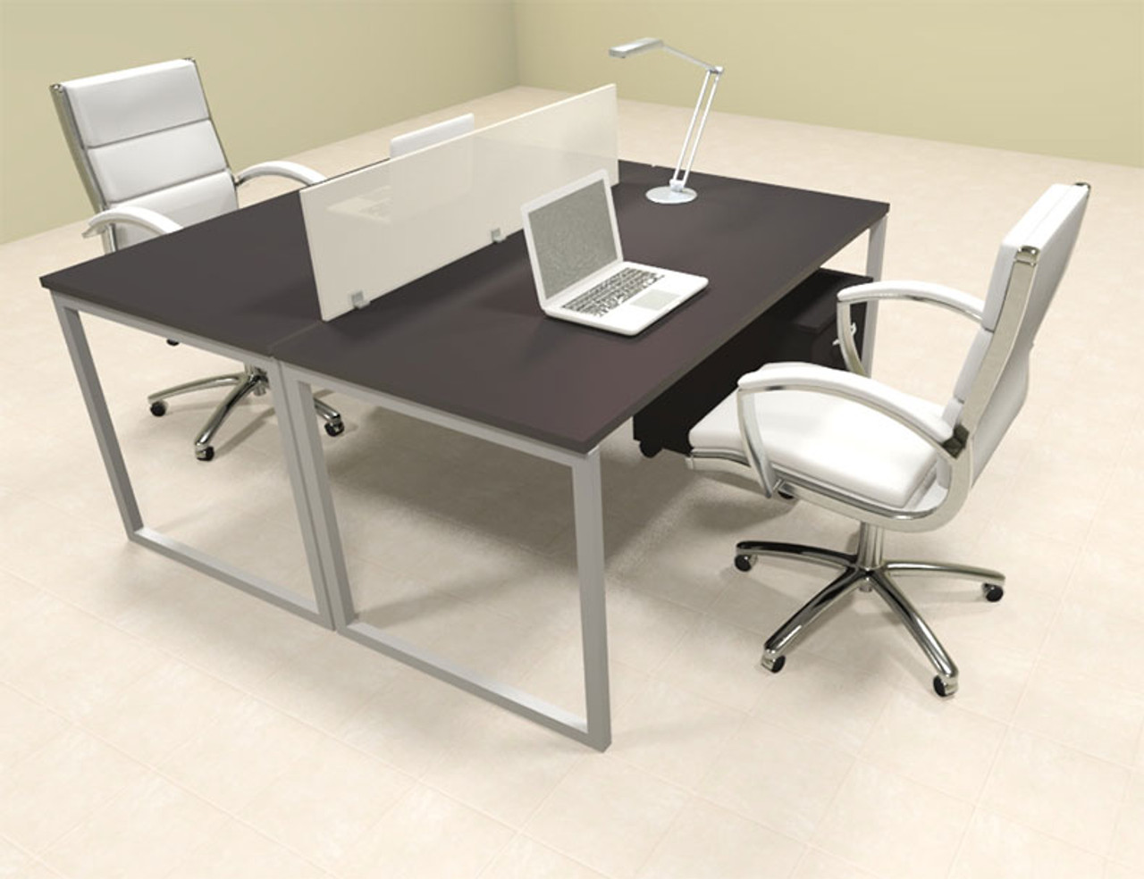 Two Person Modern Acrylic Divider Office Workstation, #AL-OPN-FP24