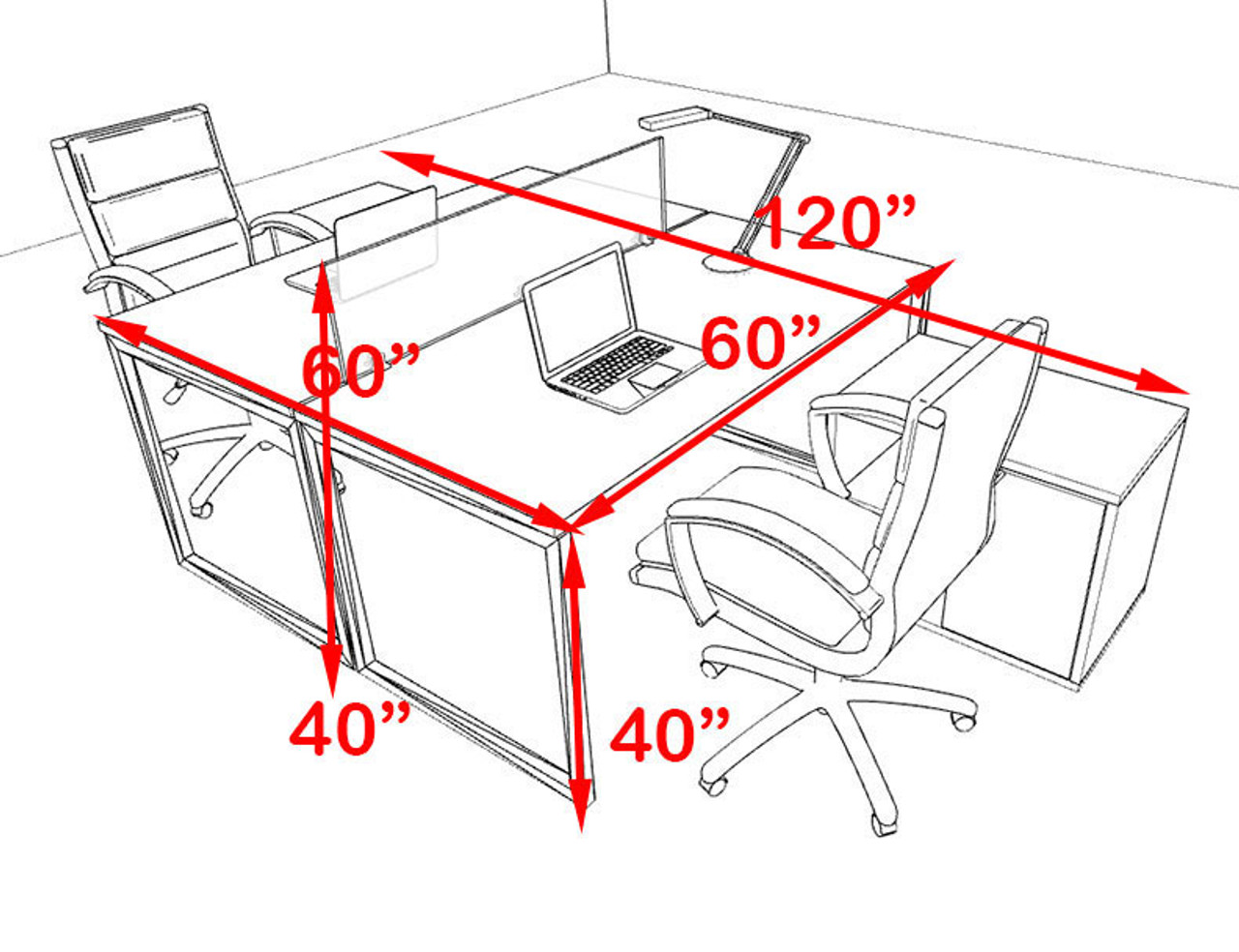 Two Person Modern Acrylic Divider Office Workstation, #AL-OPN-FP40