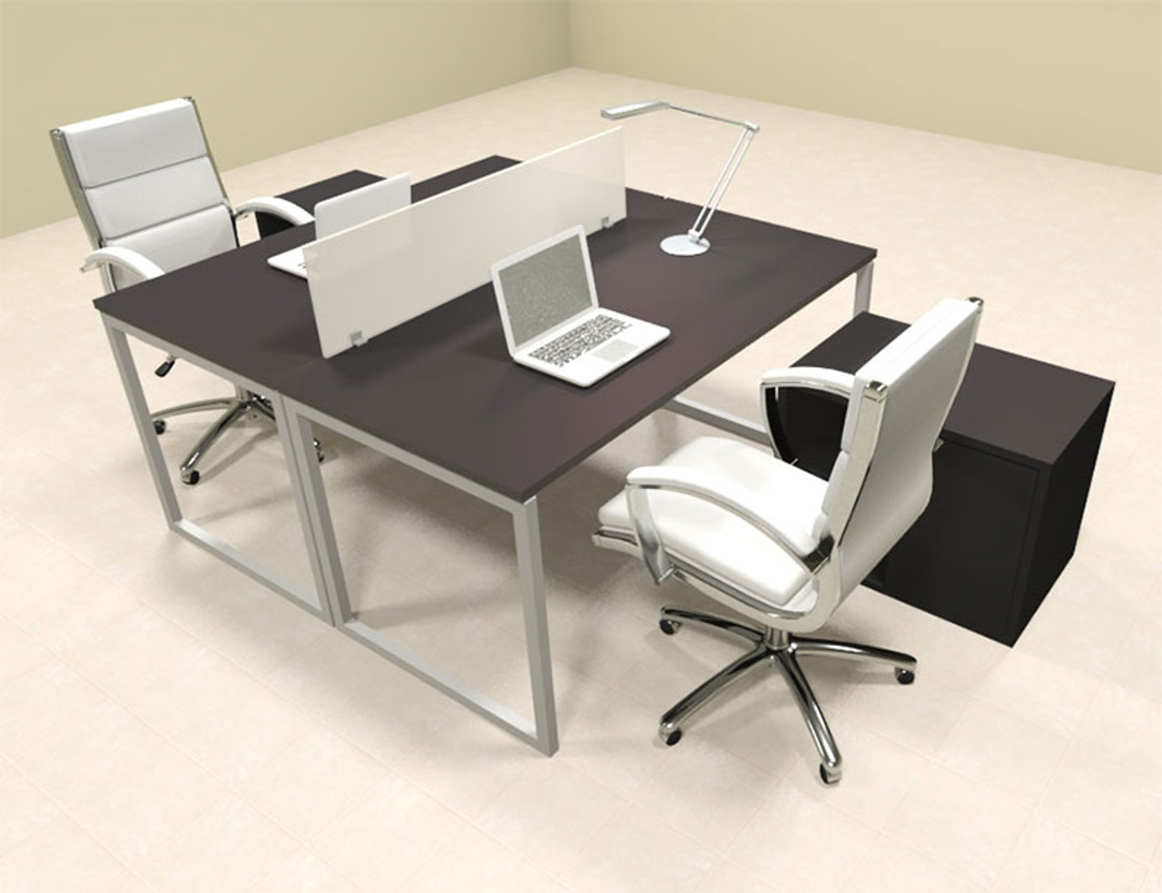 Two Person Modern Acrylic Divider Office Workstation, #AL-OPN-FP42