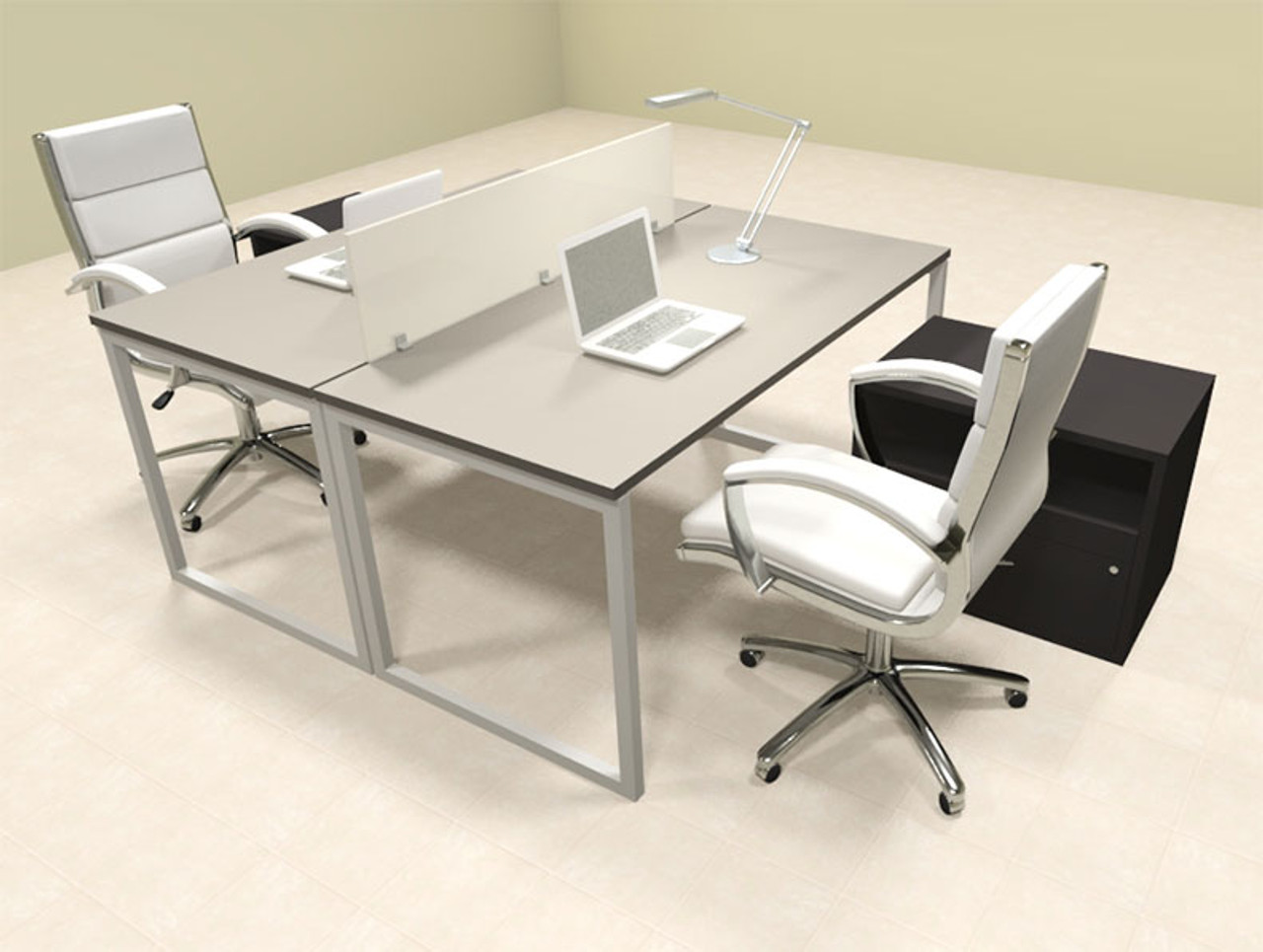 Two Person Modern Acrylic Divider Office Workstation, #AL-OPN-FP56