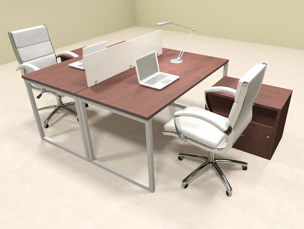 Two Person Modern Acrylic Divider Office Workstation, #AL-OPN-FP58