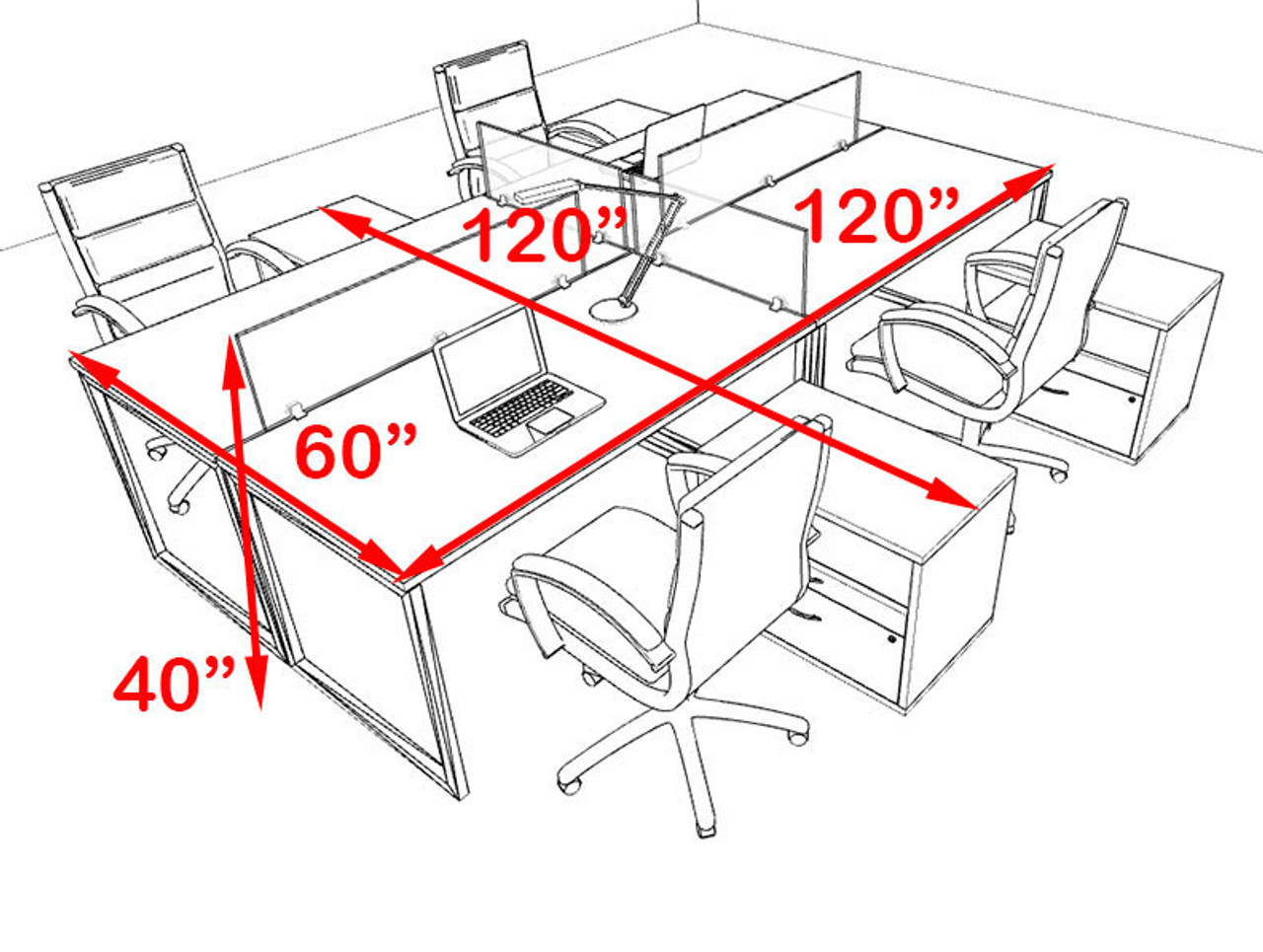 Four Person Modern Acrylic Divider Office Workstation, #AL-OPN-FP62