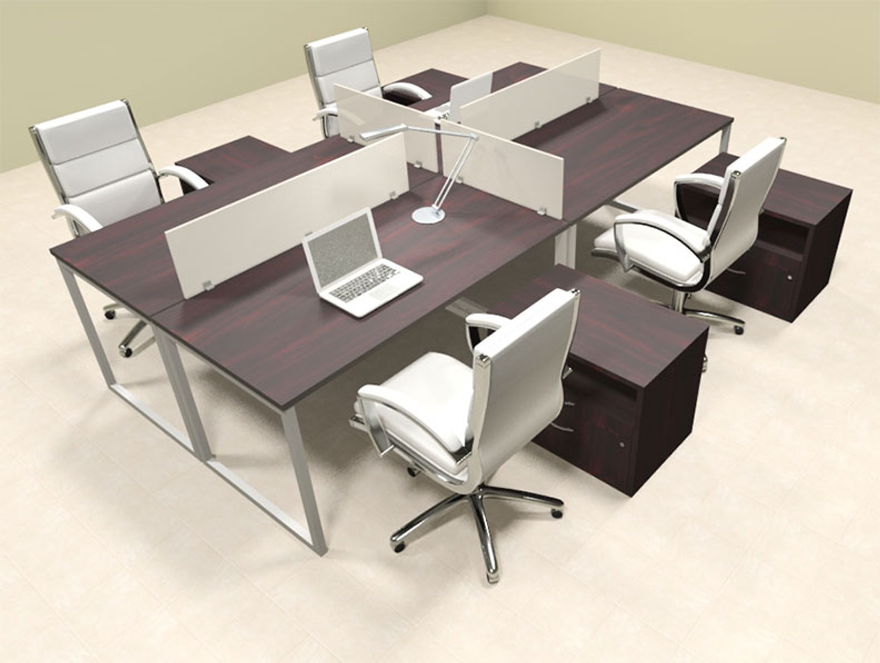 Four Person Modern Acrylic Divider Office Workstation, #AL-OPN-FP65