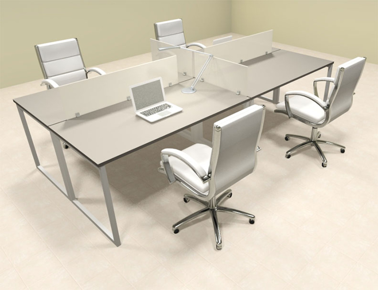 Four Person Modern Acrylic Divider Office Workstation, #AL-OPN-FP8