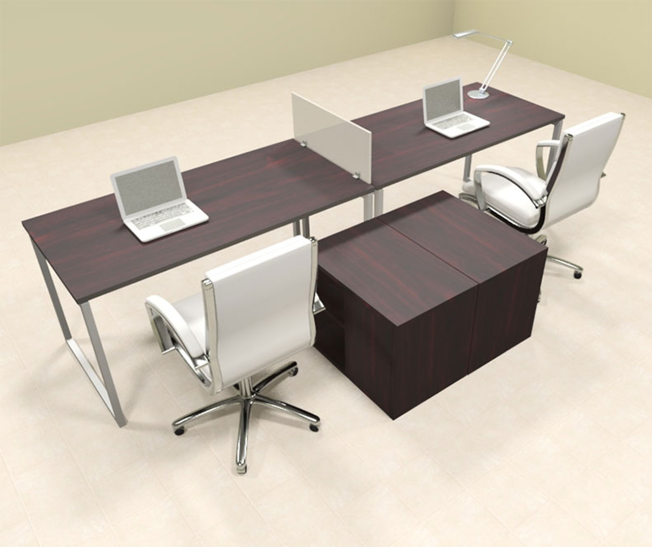 Two Person Modern Acrylic Divider Office Workstation, #AL-OPN-SP11