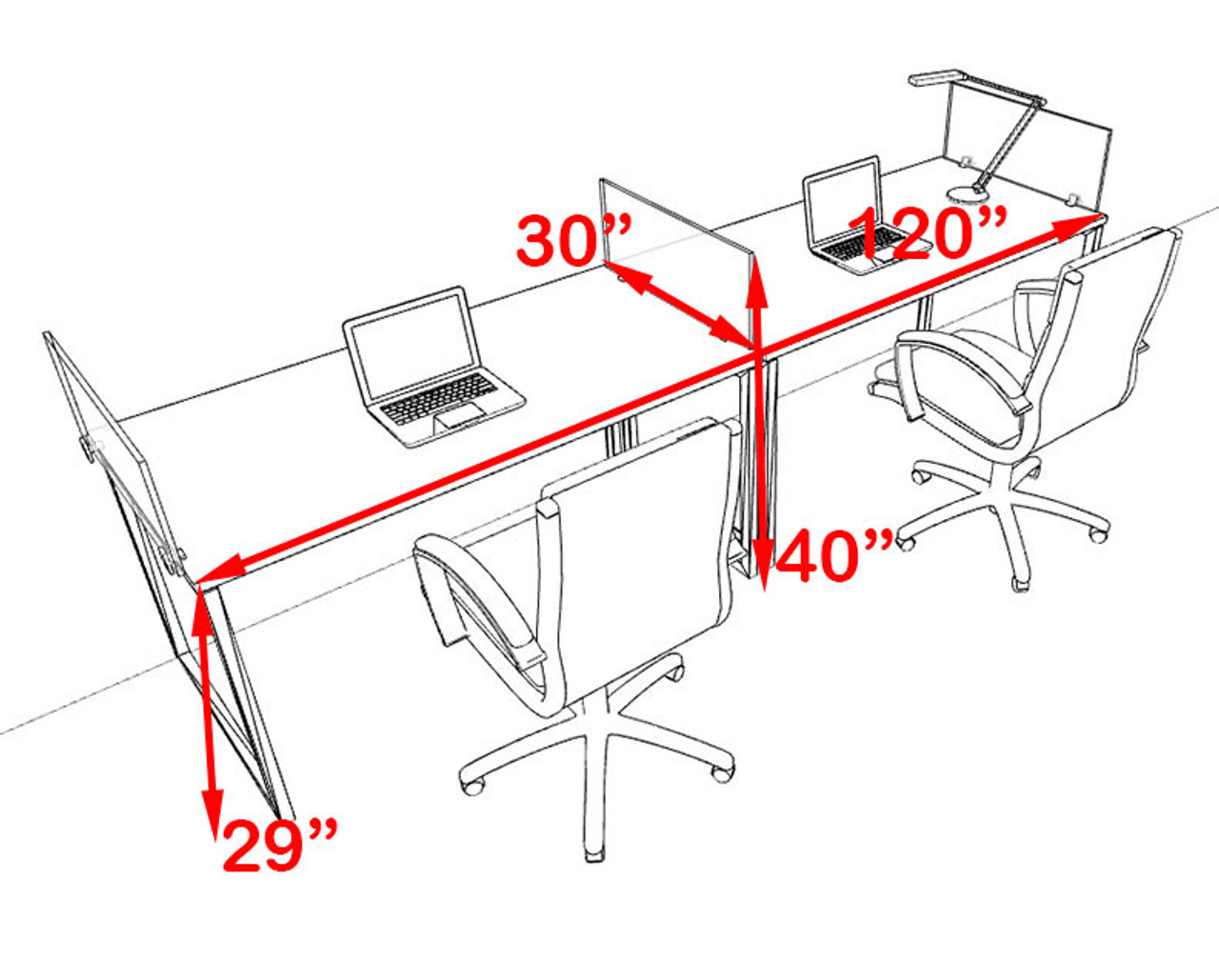 Two Person Modern Acrylic Divider Office Workstation, #AL-OPN-SP13