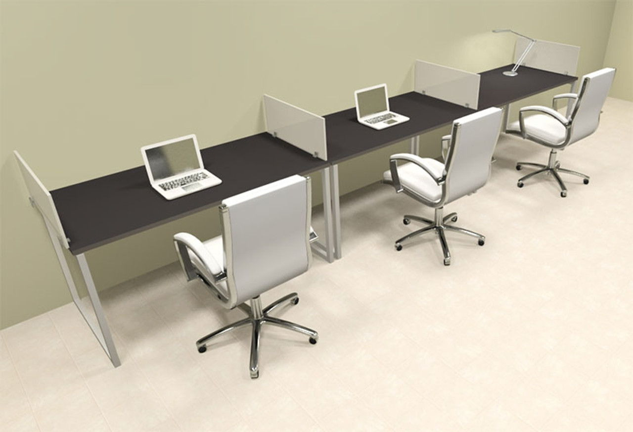 There Person Modern Acrylic Divider Office Workstation, #AL-OPN-SP24