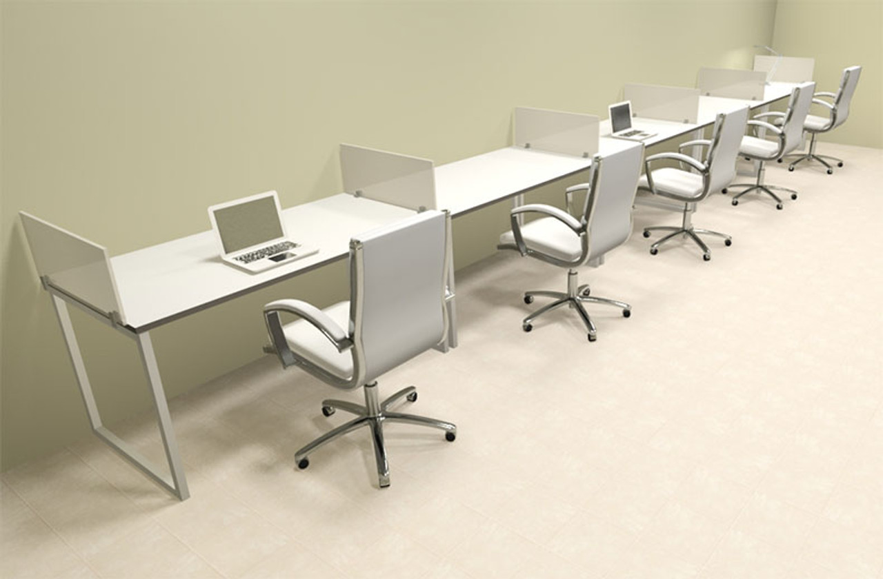 Five Person Modern Acrylic Divider Office Workstation, #AL-OPN-SP37
