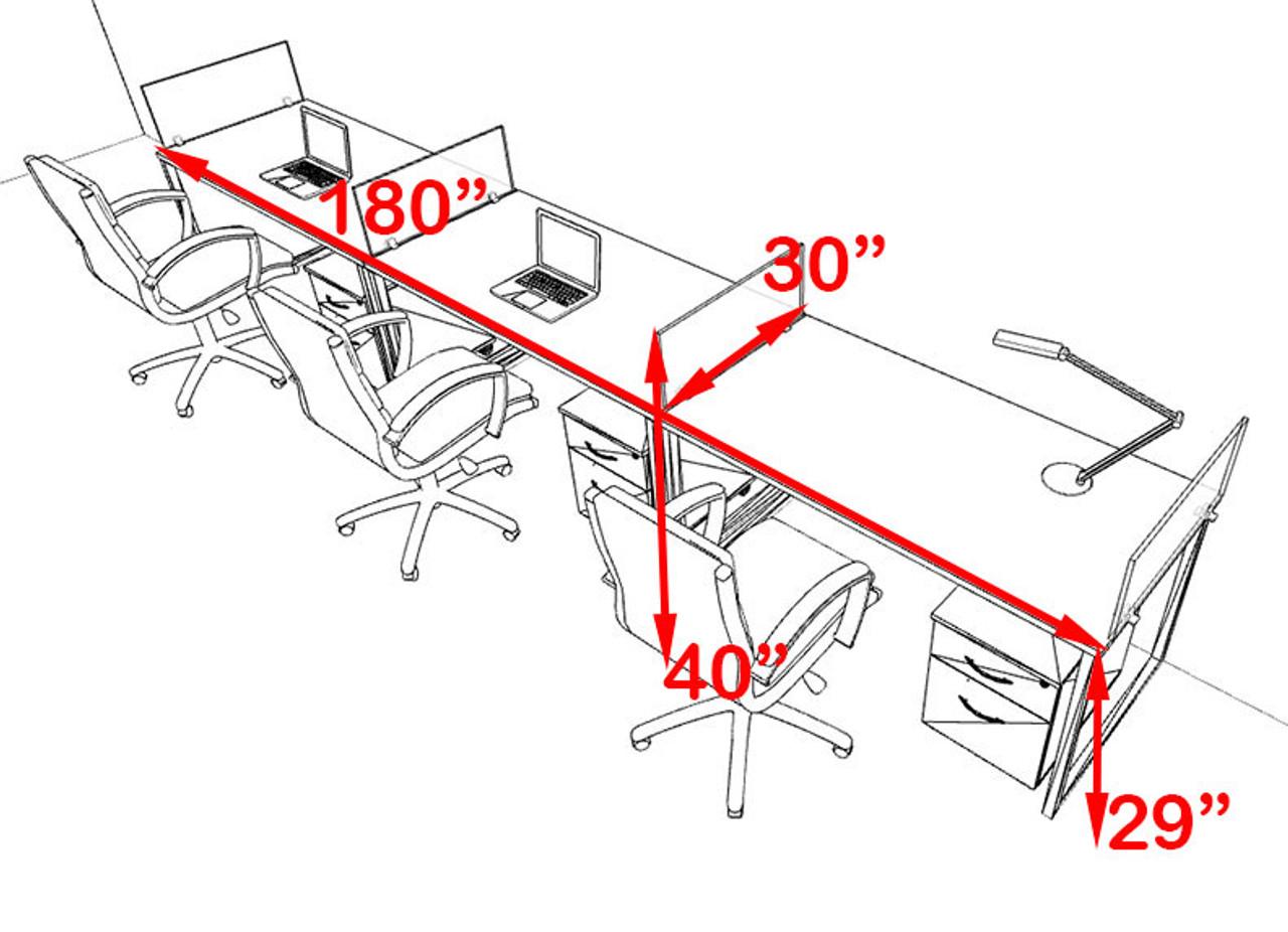 Three Person Modern Acrylic Divider Office Workstation, #AL-OPN-SP60