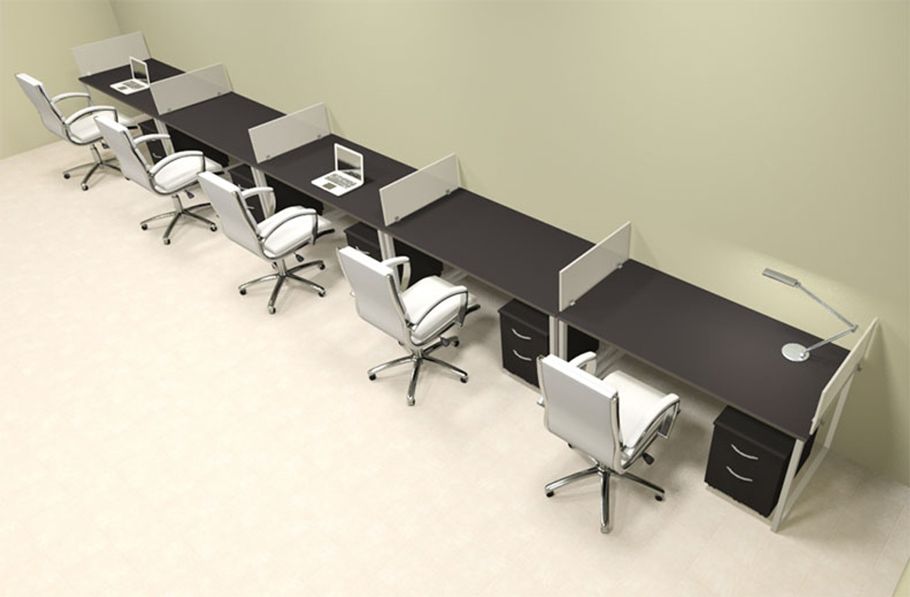Five Person Modern Acrylic Divider Office Workstation, #AL-OPN-SP72