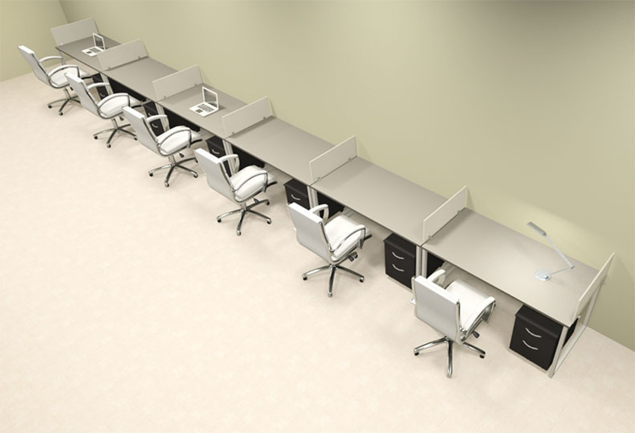 Six Person Modern Acrylic Divider Office Workstation, #AL-OPN-SP74