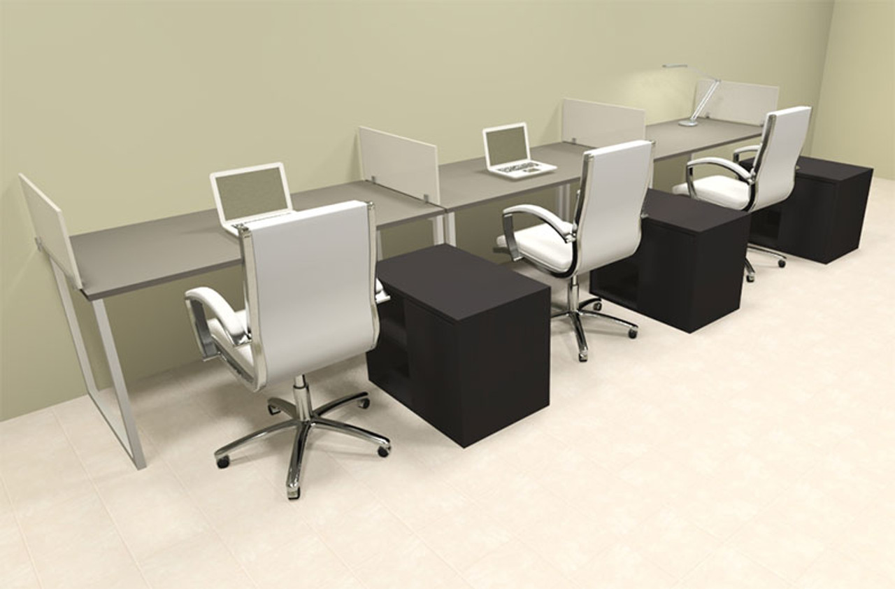 Three Person Modern Acrylic Divider Office Workstation, #AL-OPN-SP86